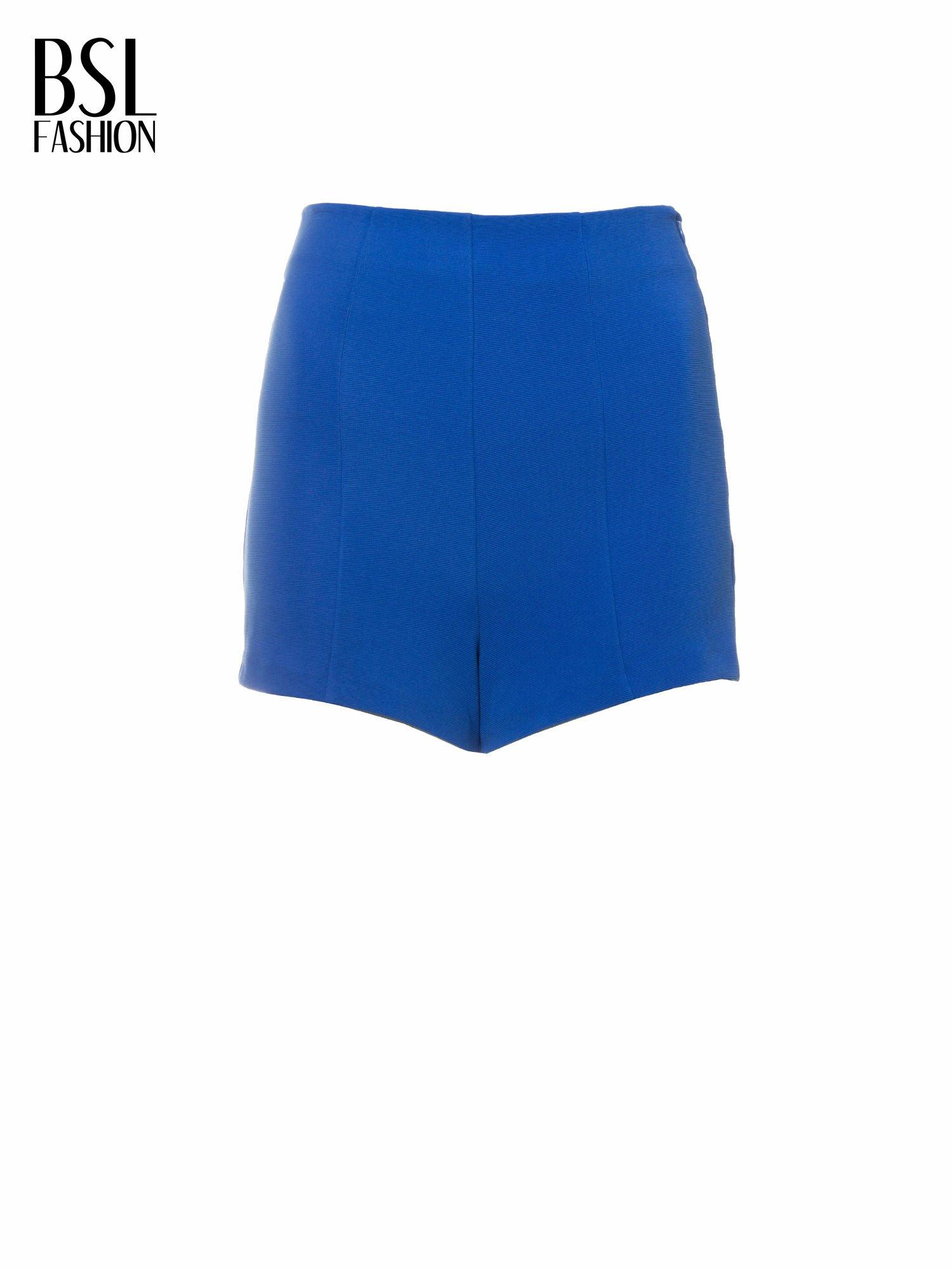 Niebieskie szorty metariałowe z wysokim stanem                                  zdj.                                  5