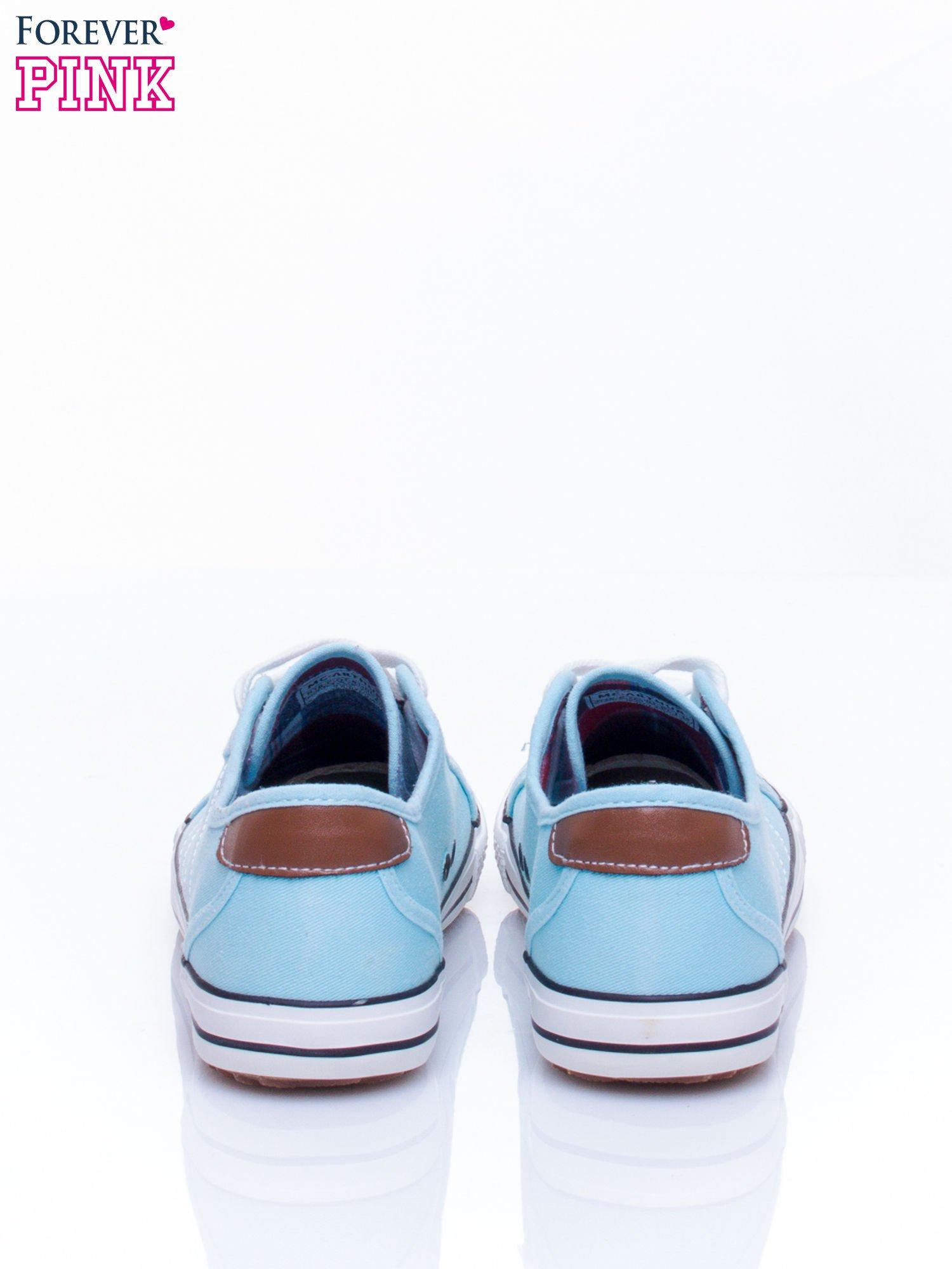 Niebieskie trampki damskie ze skórzaną naszywką                                  zdj.                                  5