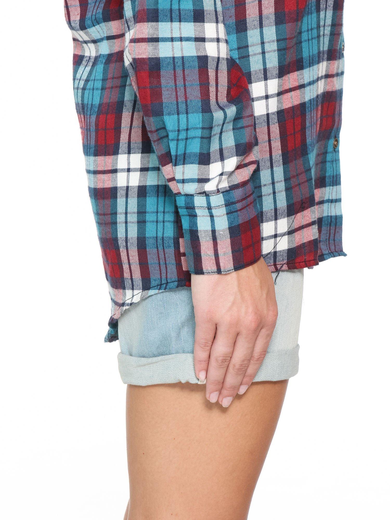 Niebiesko-czerwona bawełniana dłuższa koszula w kratę                                  zdj.                                  9