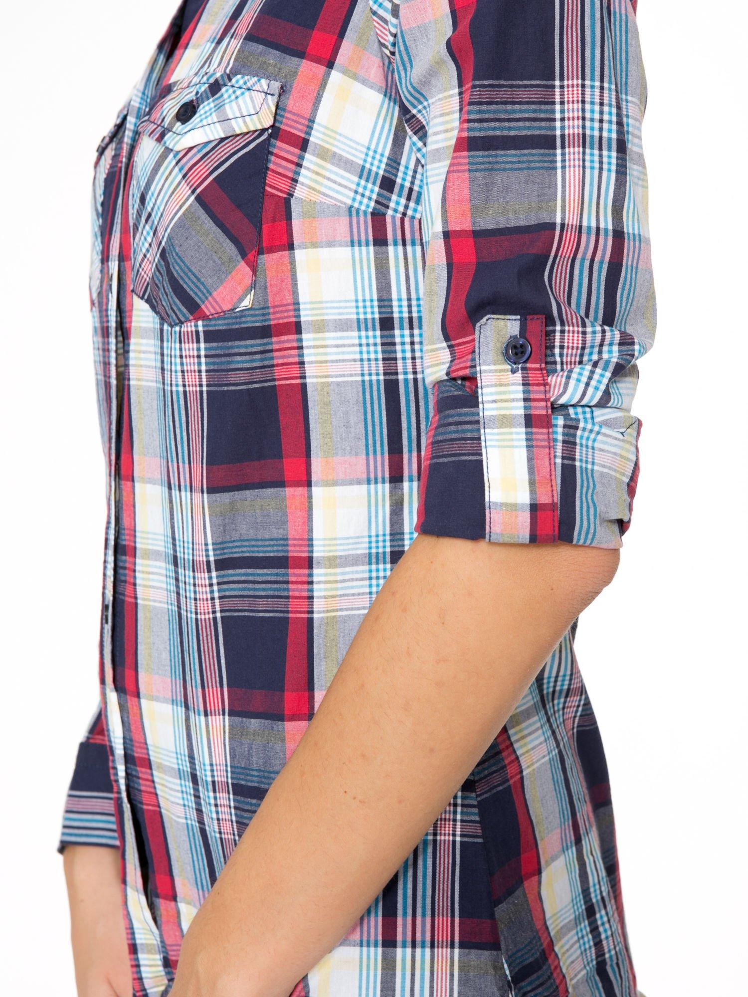 Niebiesko-czerwona koszula w kratę z kieszeniami                                  zdj.                                  11