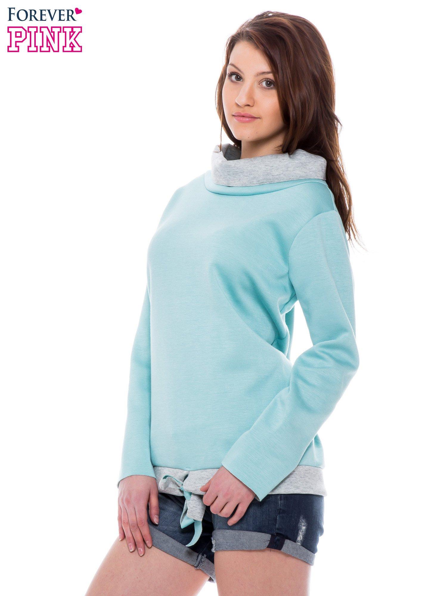 Niebiesko-szara bluza z wywijanym kołnierzem                                  zdj.                                  3