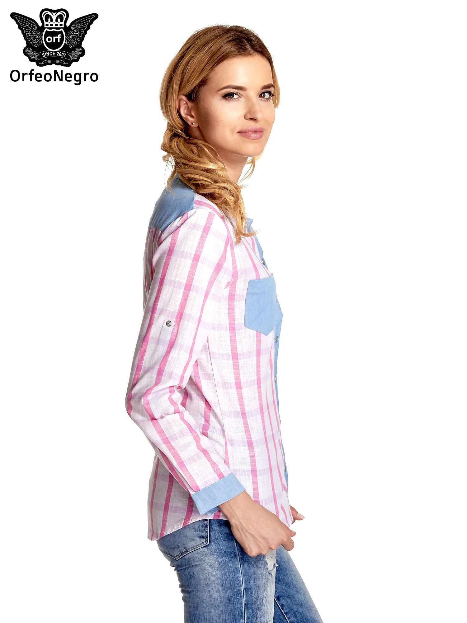 Niebieskoróżowa koszula w kratę z biżuteryjnym kołnierzykiem                                  zdj.                                  3