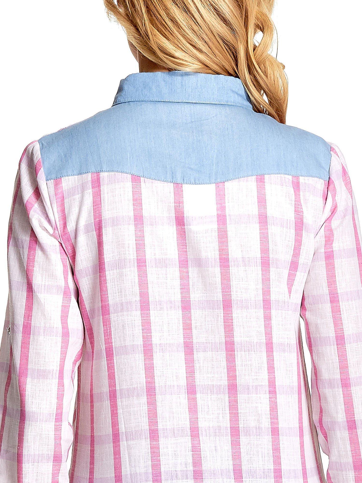 Niebieskoróżowa koszula w kratę z biżuteryjnym kołnierzykiem                                  zdj.                                  8