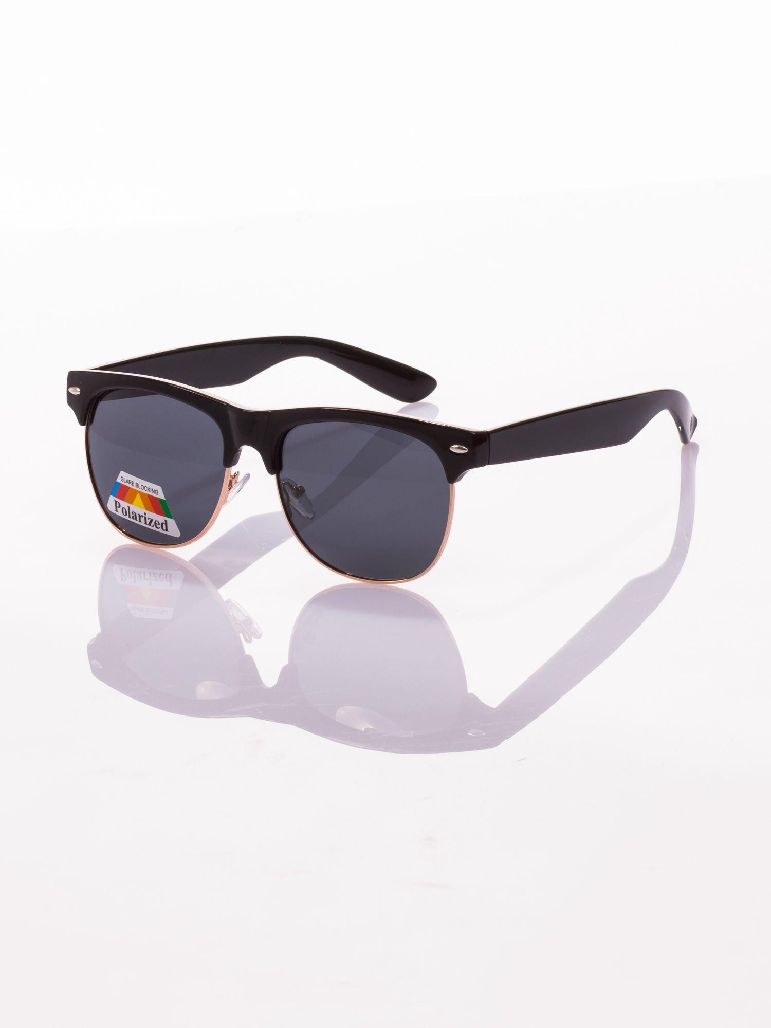 POLARYZACJA Czarne okulary przeciwsłoneczne typu CLUBMASTER + GRATISY                                  zdj.                                  1