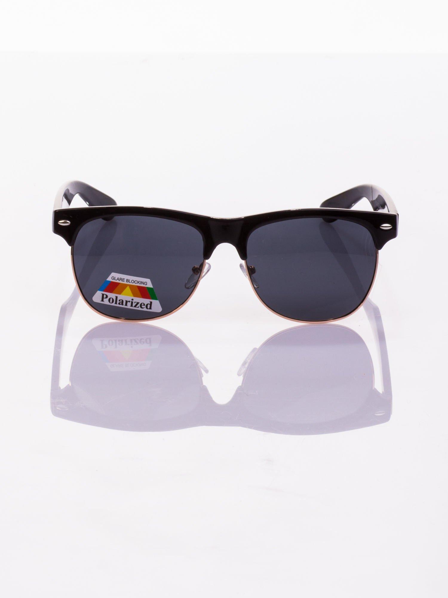 POLARYZACJA Czarne okulary przeciwsłoneczne typu CLUBMASTER + GRATISY                                  zdj.                                  2
