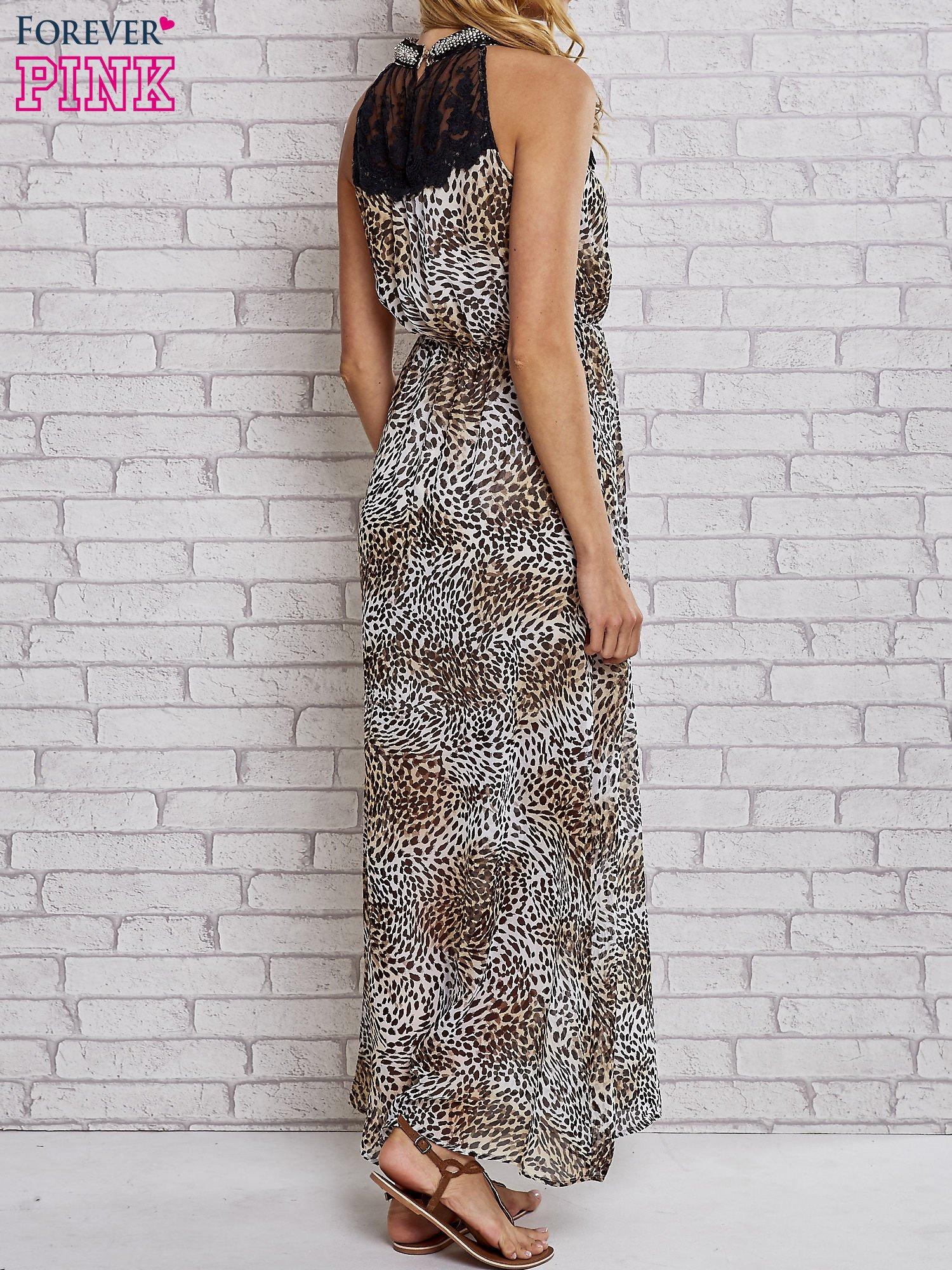 Panterkowa sukienka maxi z koronkowym półgolfem                                  zdj.                                  2