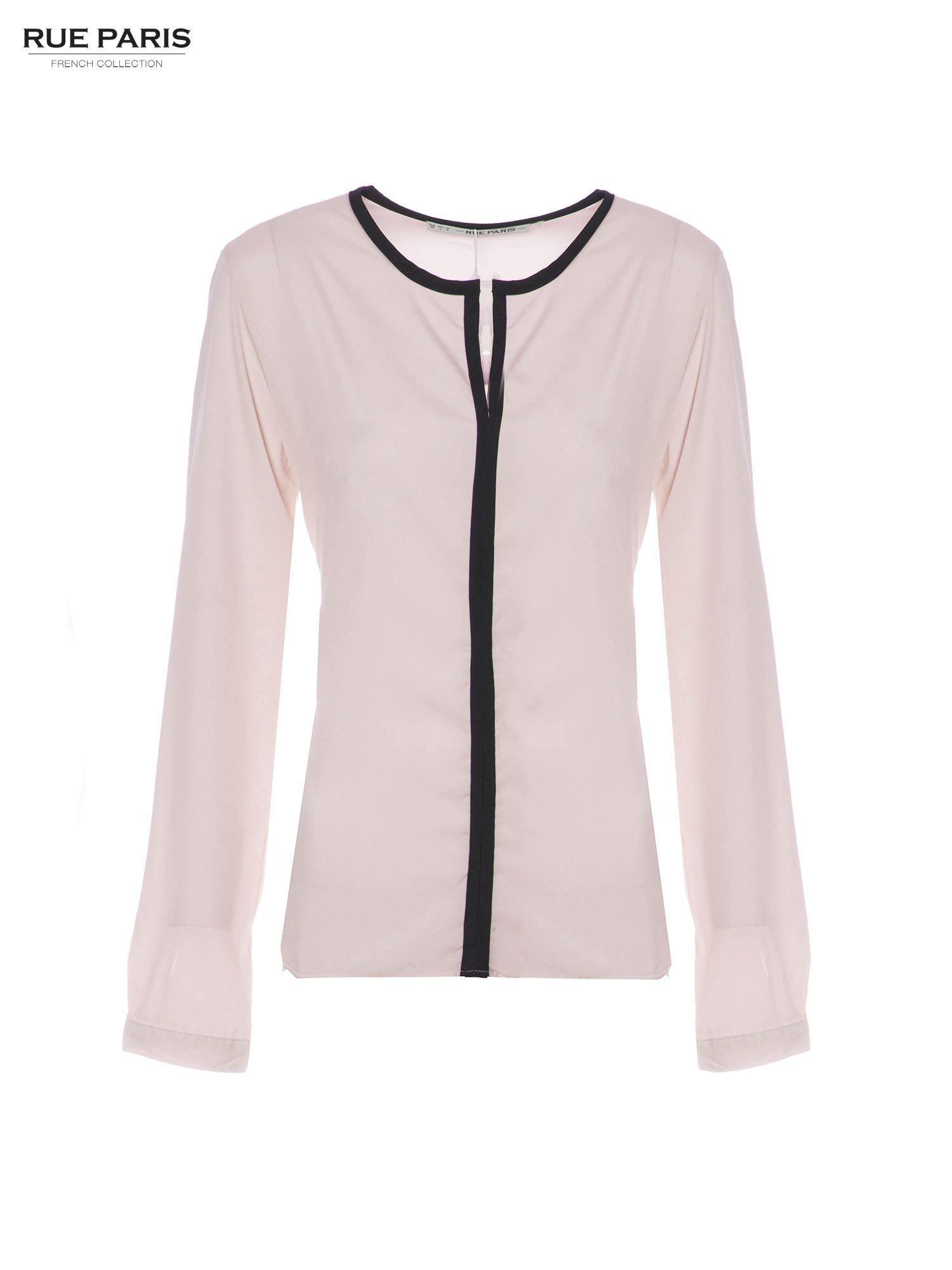 Pasteloworóżowa koszula z kontrastową listwą                                  zdj.                                  5
