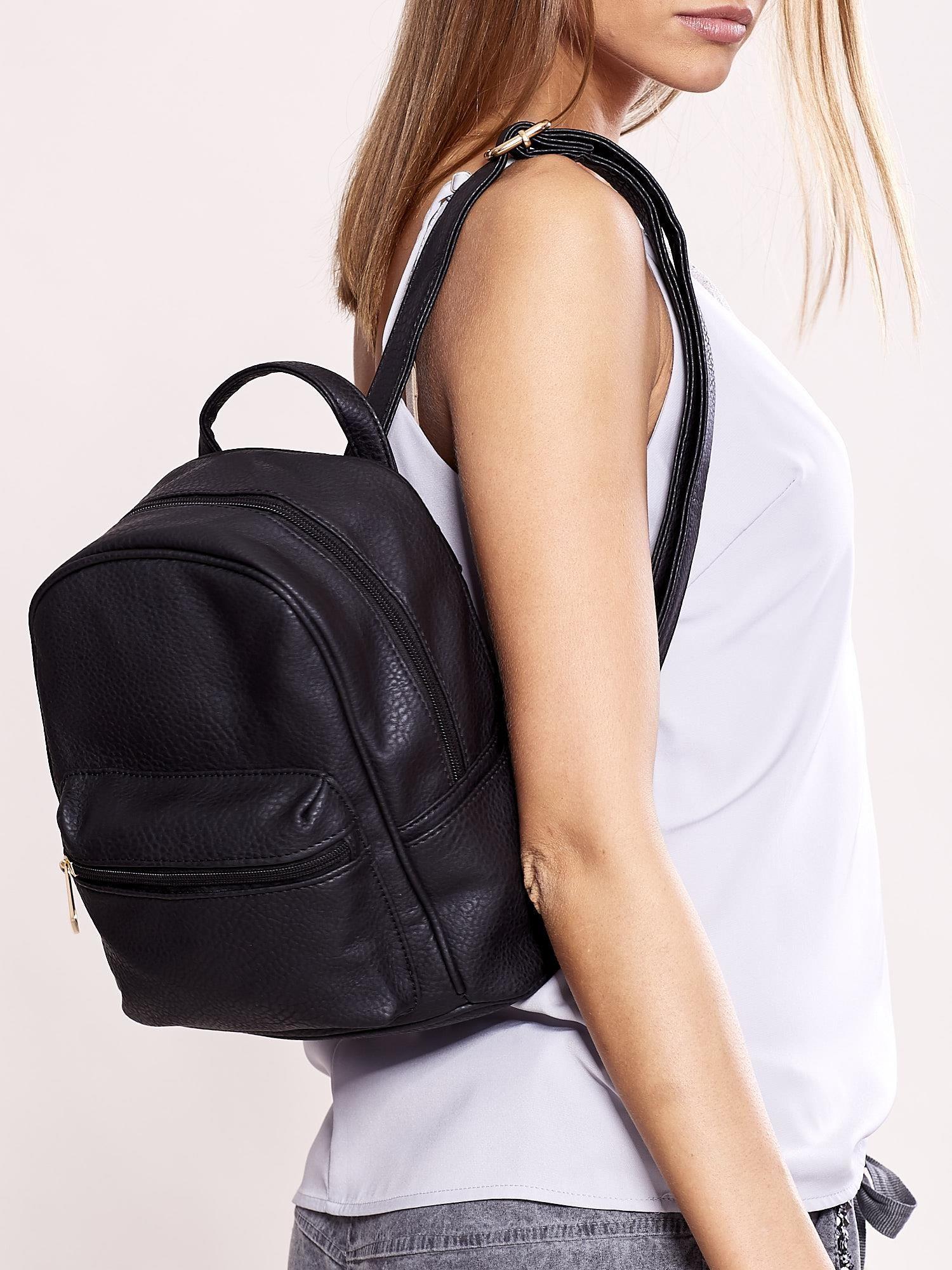 2ac422bd14fa7 Plecak damski czarny ze skóry ekologicznej - Akcesoria plecaki ...