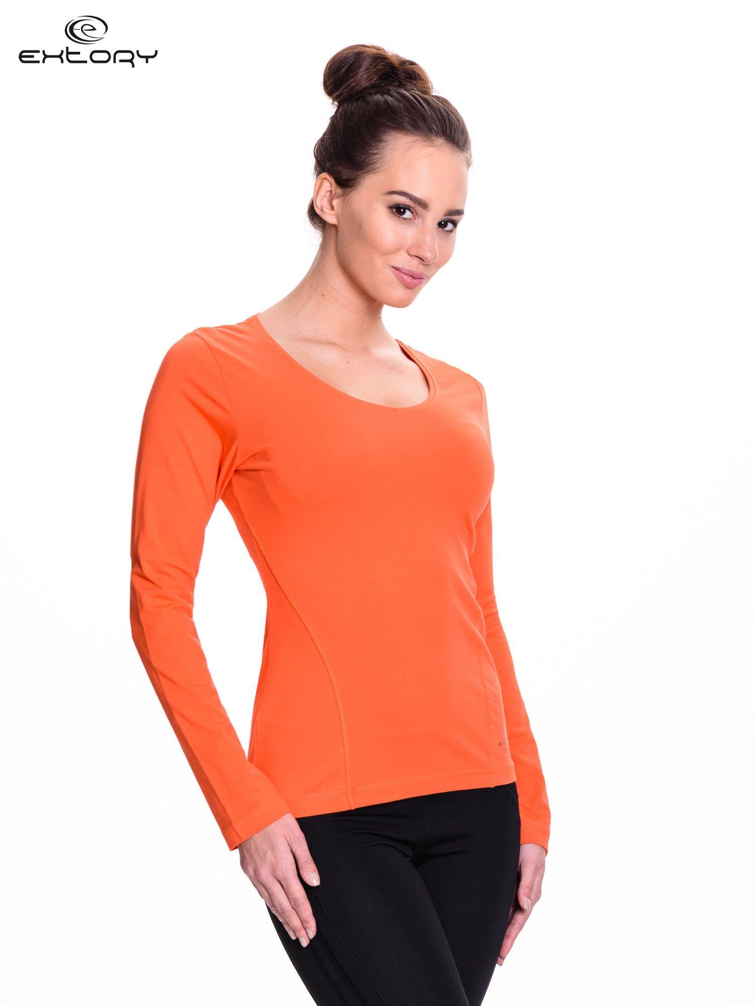 Pomarańczowa bluzka sportowa z dekoltem V                                  zdj.                                  3