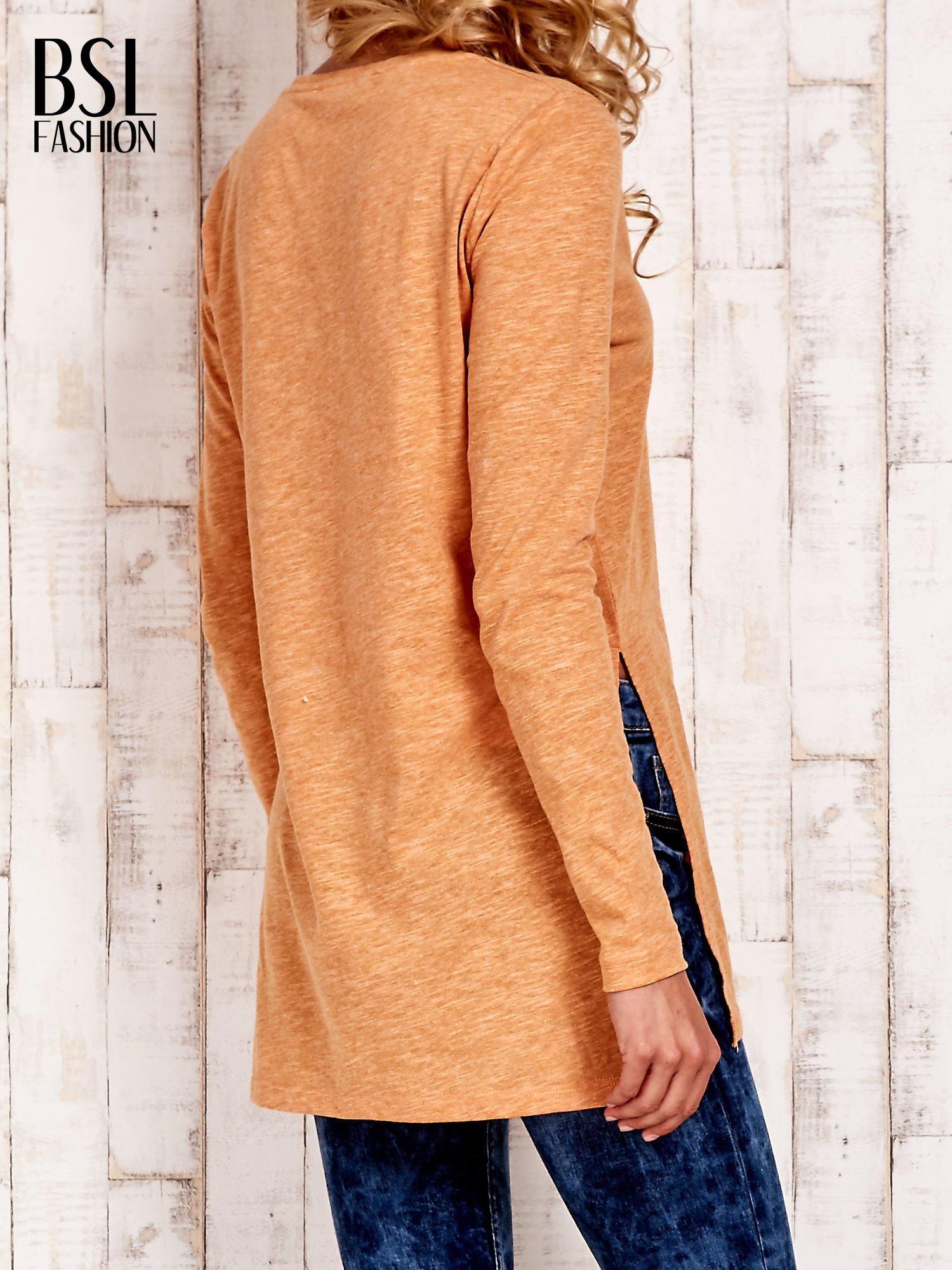 Pomarańczowa bluzka z rozporkami z boku                                  zdj.                                  4