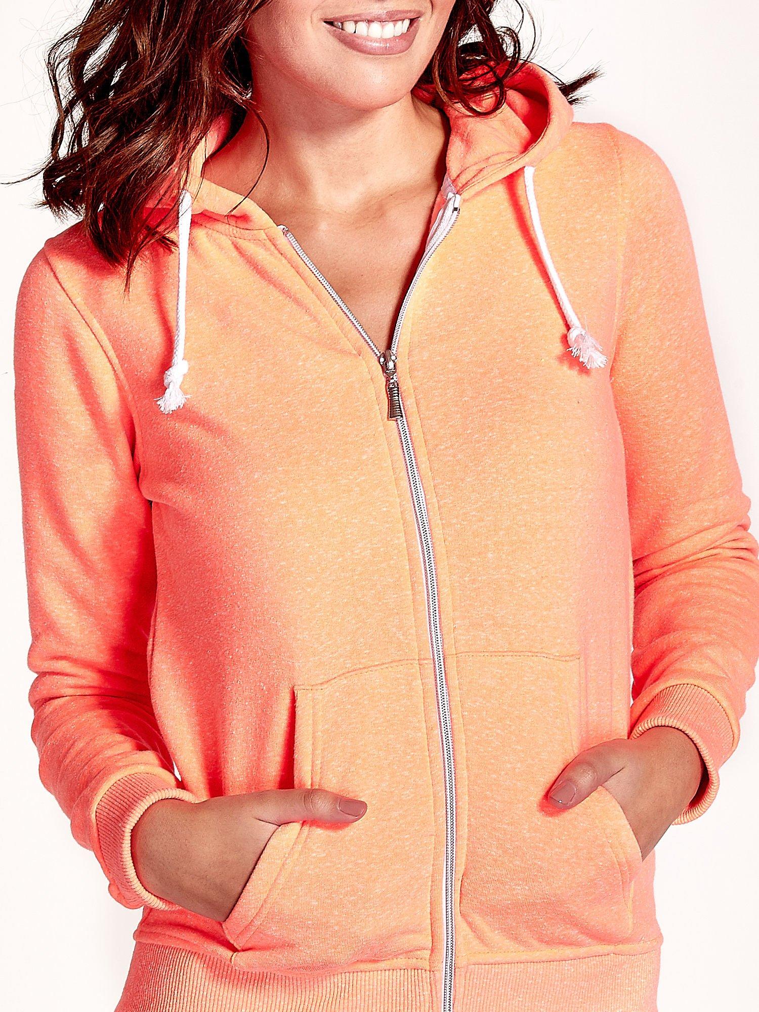 Pomarańczowa gładka bluza z kapturem                                  zdj.                                  6