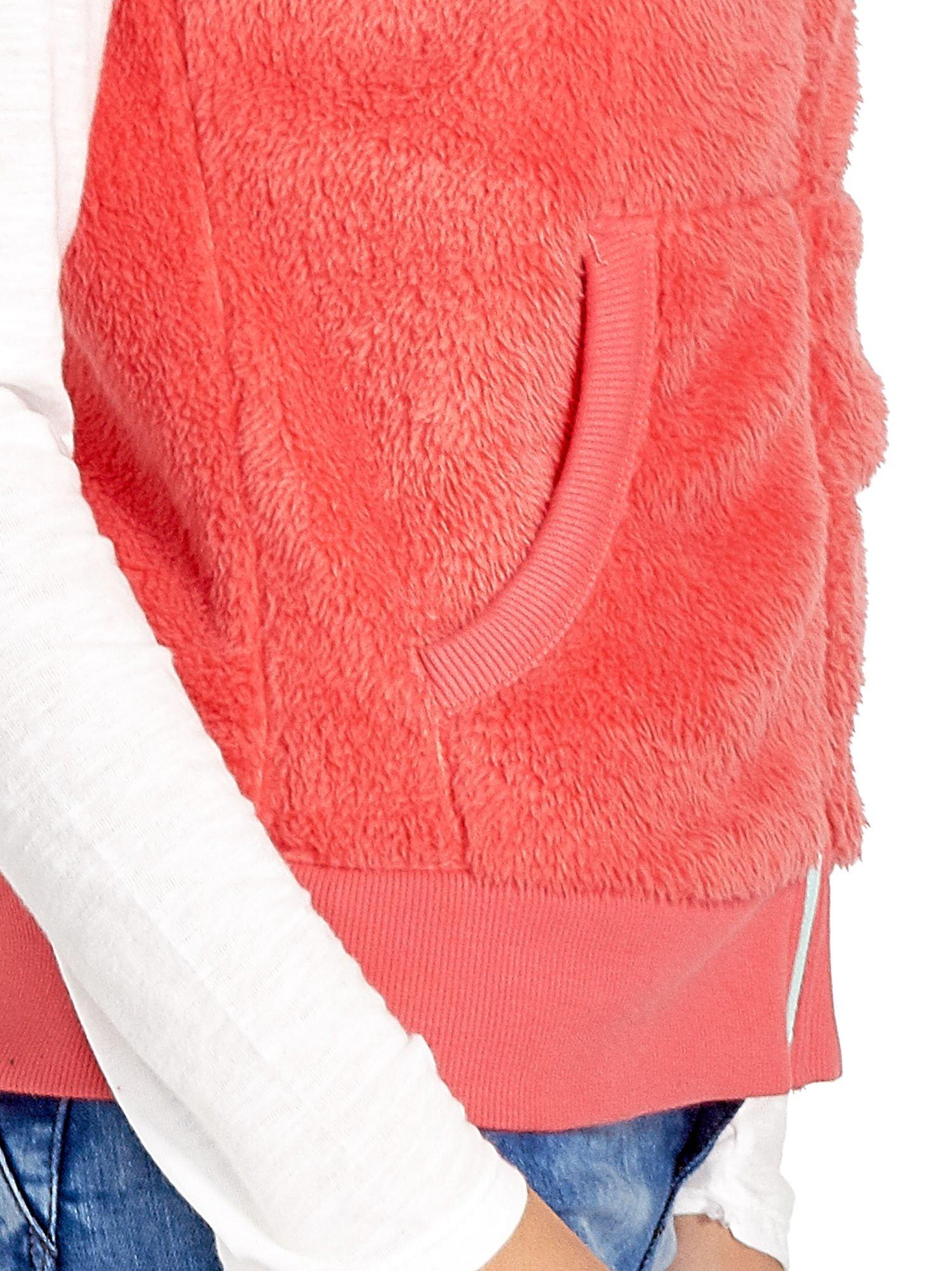 Pomarańczowa kamizelka z polaru z kapturem z uszkami                                  zdj.                                  6