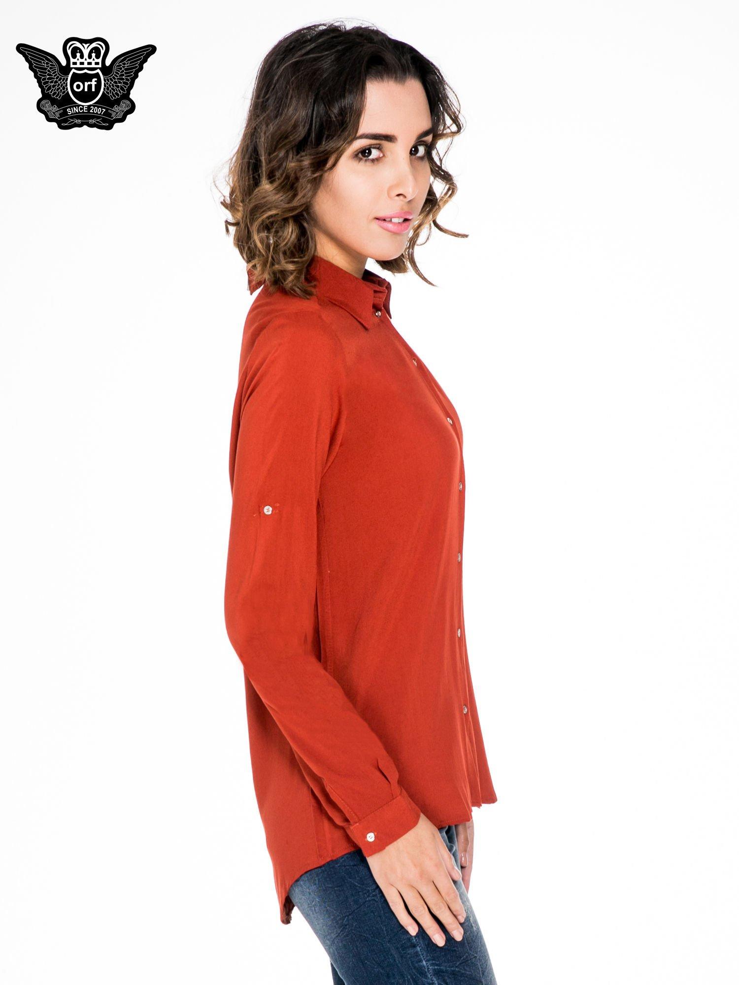 Pomarańczowa koszula damska z zamkiem z tyłu                                  zdj.                                  3