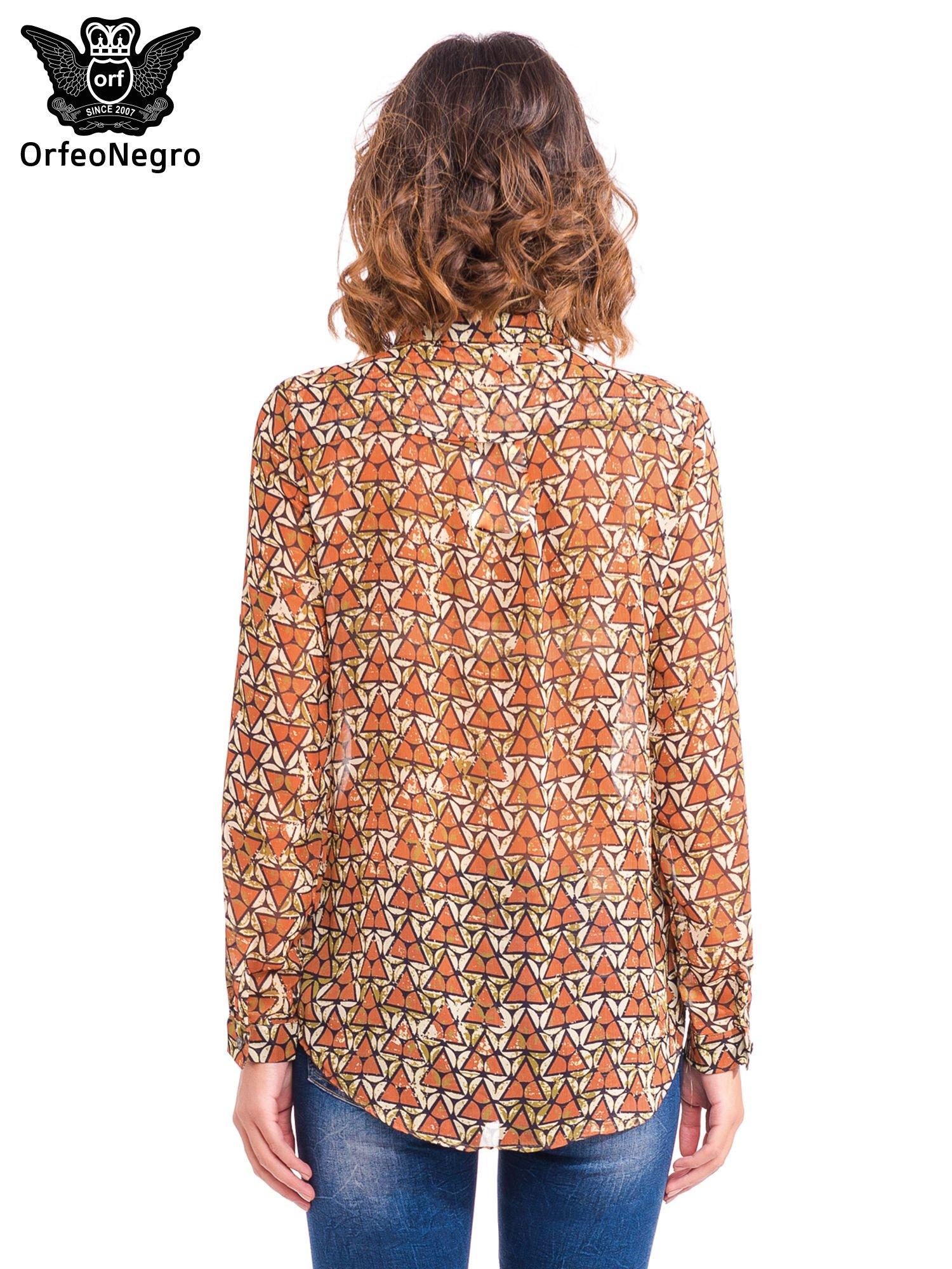 Pomarańczowa koszula mgiełka w geometryczne wzory                                  zdj.                                  4