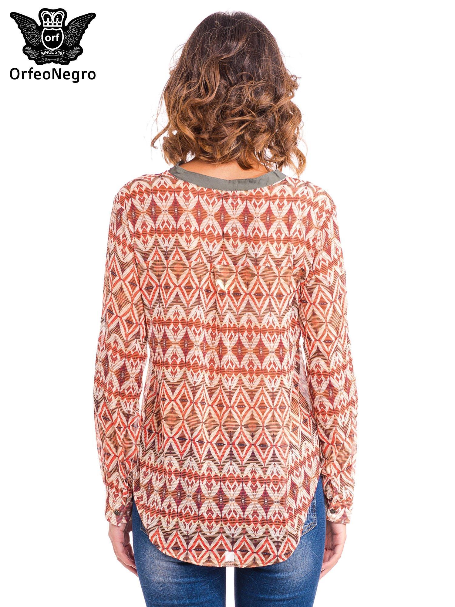 Pomarańczowa koszula w etniczne wzory z kontrastową listwą                                  zdj.                                  4