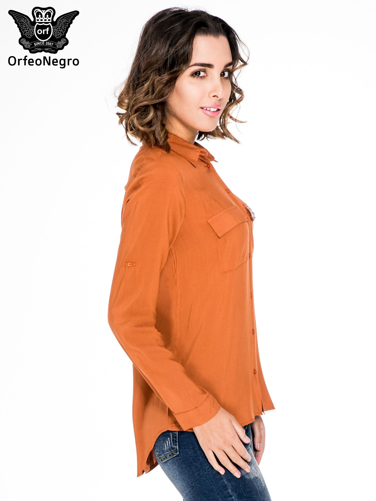 Pomarańczowa koszula z biżuteryjną kieszonką                                  zdj.                                  3