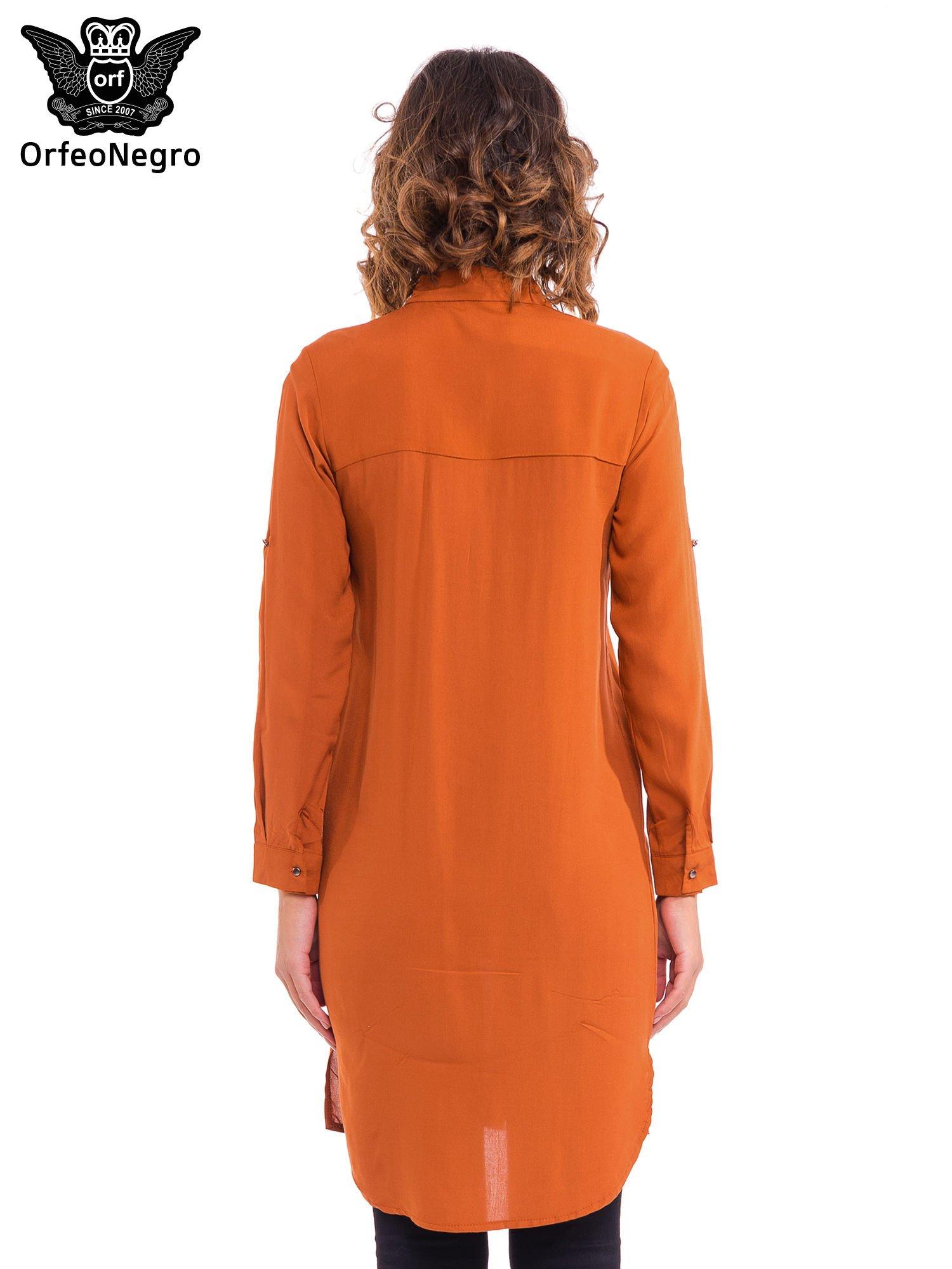 Pomarańczowa koszulotunika z kieszonkami                                  zdj.                                  4