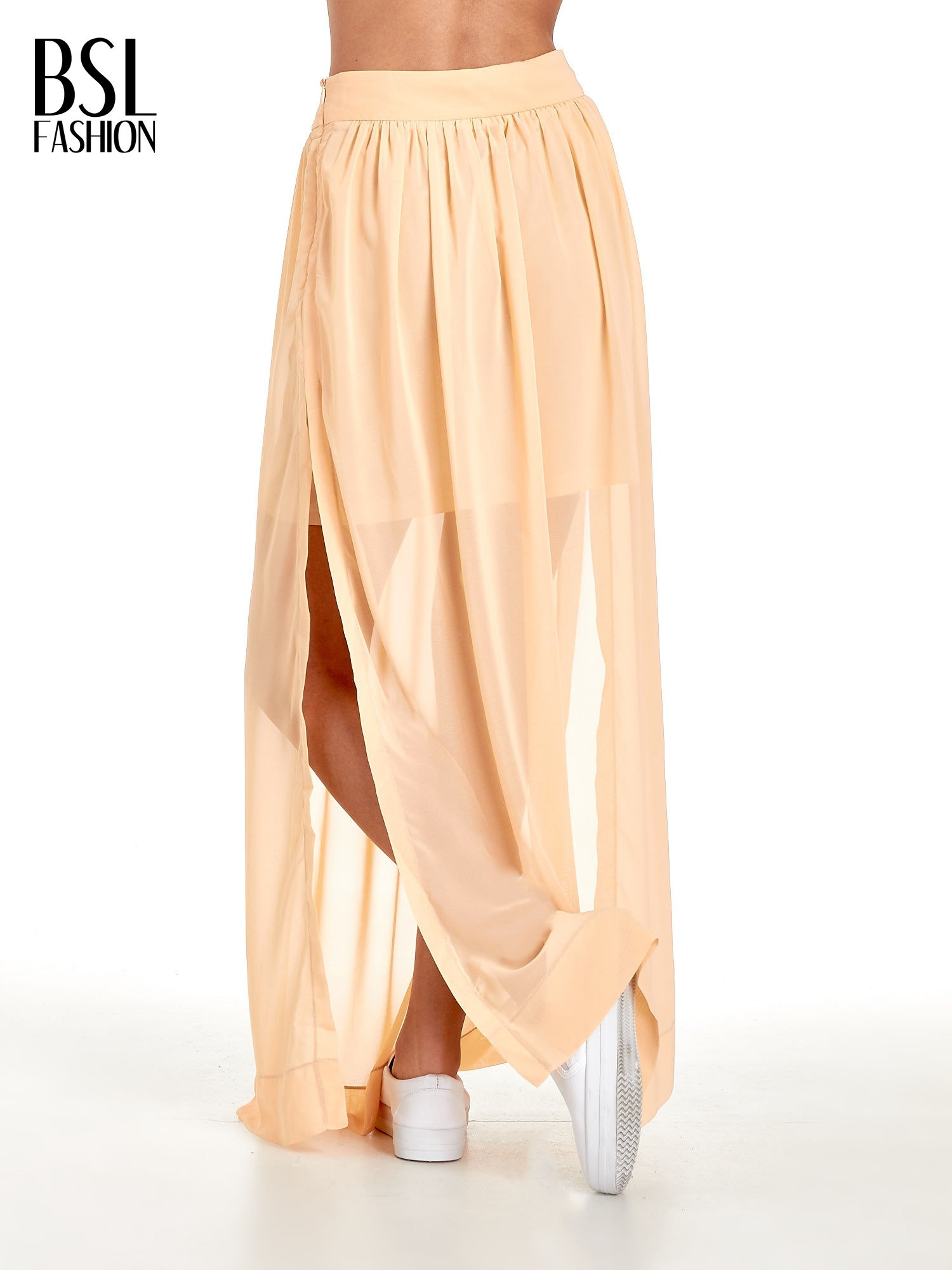 Pomarańczowa spódnica maxi transparentna                                  zdj.                                  4
