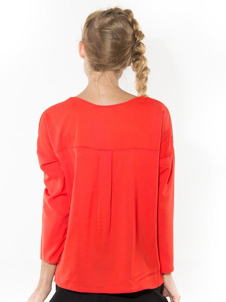 Pomarańczowa zwiewna koszula z łódkowym dekoltem                                  zdj.                                  2