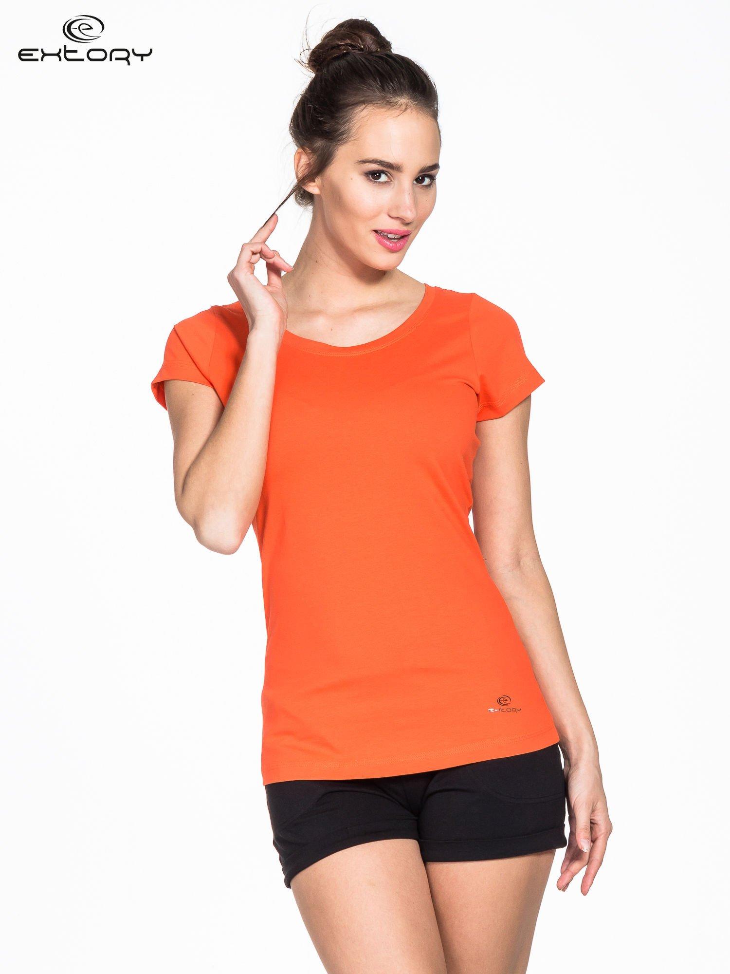 Pomarańczowy damski t-shirt sportowy basic PLUS SIZE                                  zdj.                                  1