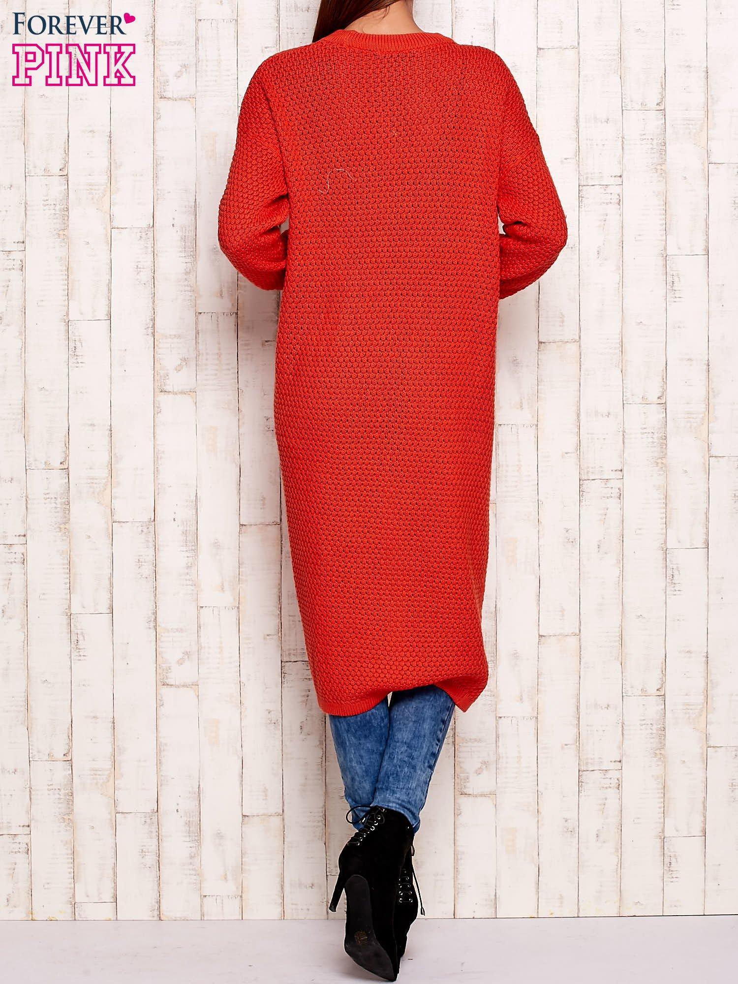Pomarańczowy długi sweter z dzianiny                                  zdj.                                  4
