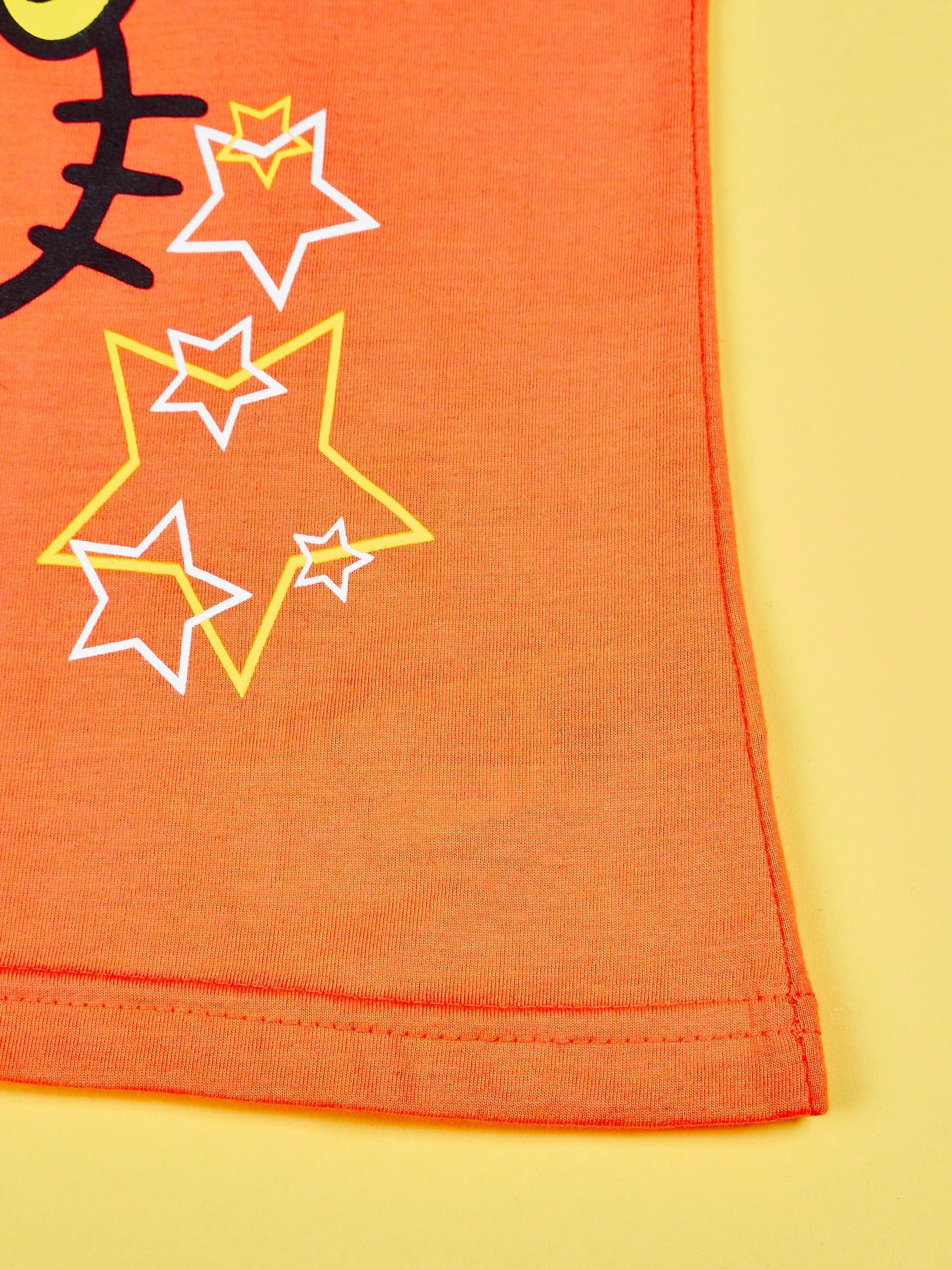 Pomarańczowy t-shirt dla dziewczynki HELLO KITTY z gwiadkami                                  zdj.                                  5