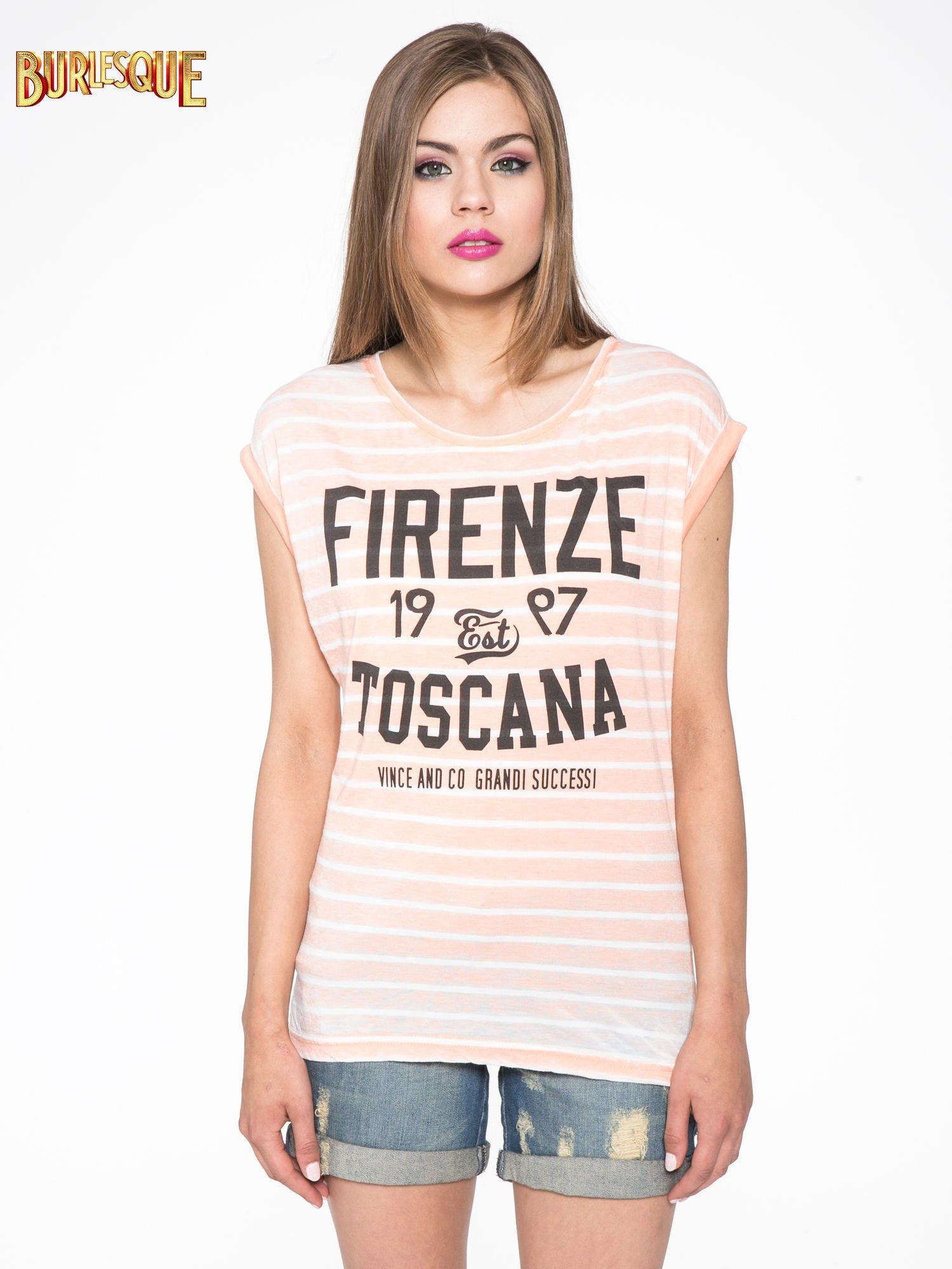 Pomarańczowy t-shirt w paski z napisem FIRENZE TOSCANA                                  zdj.                                  10