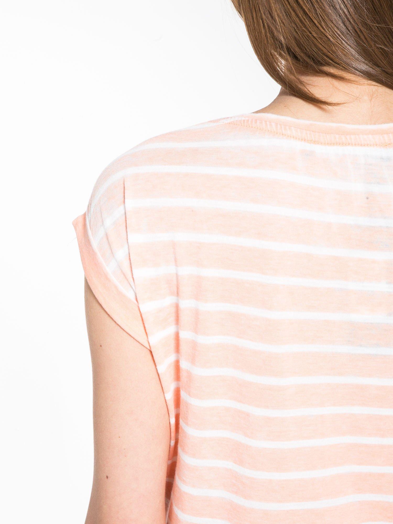 Pomarańczowy t-shirt w paski z napisem FIRENZE TOSCANA                                  zdj.                                  8
