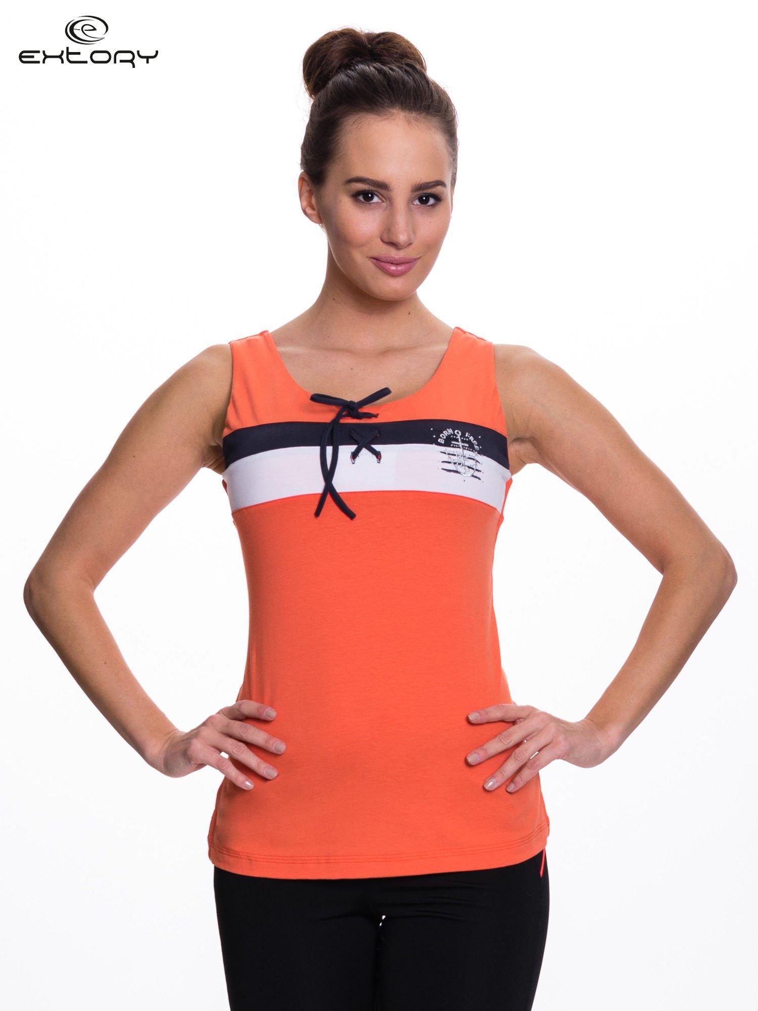Pomarańczowy top sportowy z wiązaniem w stylu marynarskim                                  zdj.                                  1