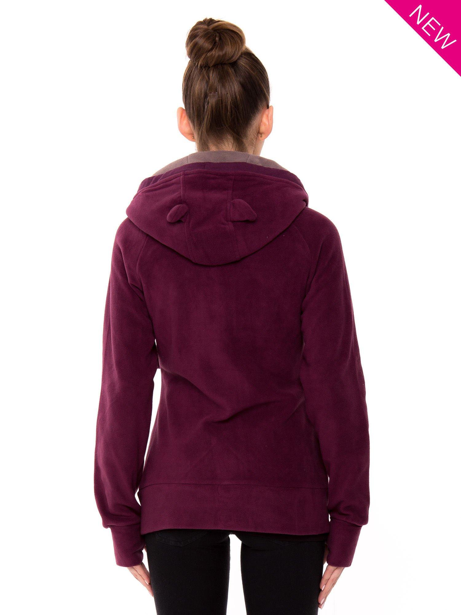 Purpurowa polarowa bluza z kapturem z uszkami                                  zdj.                                  3