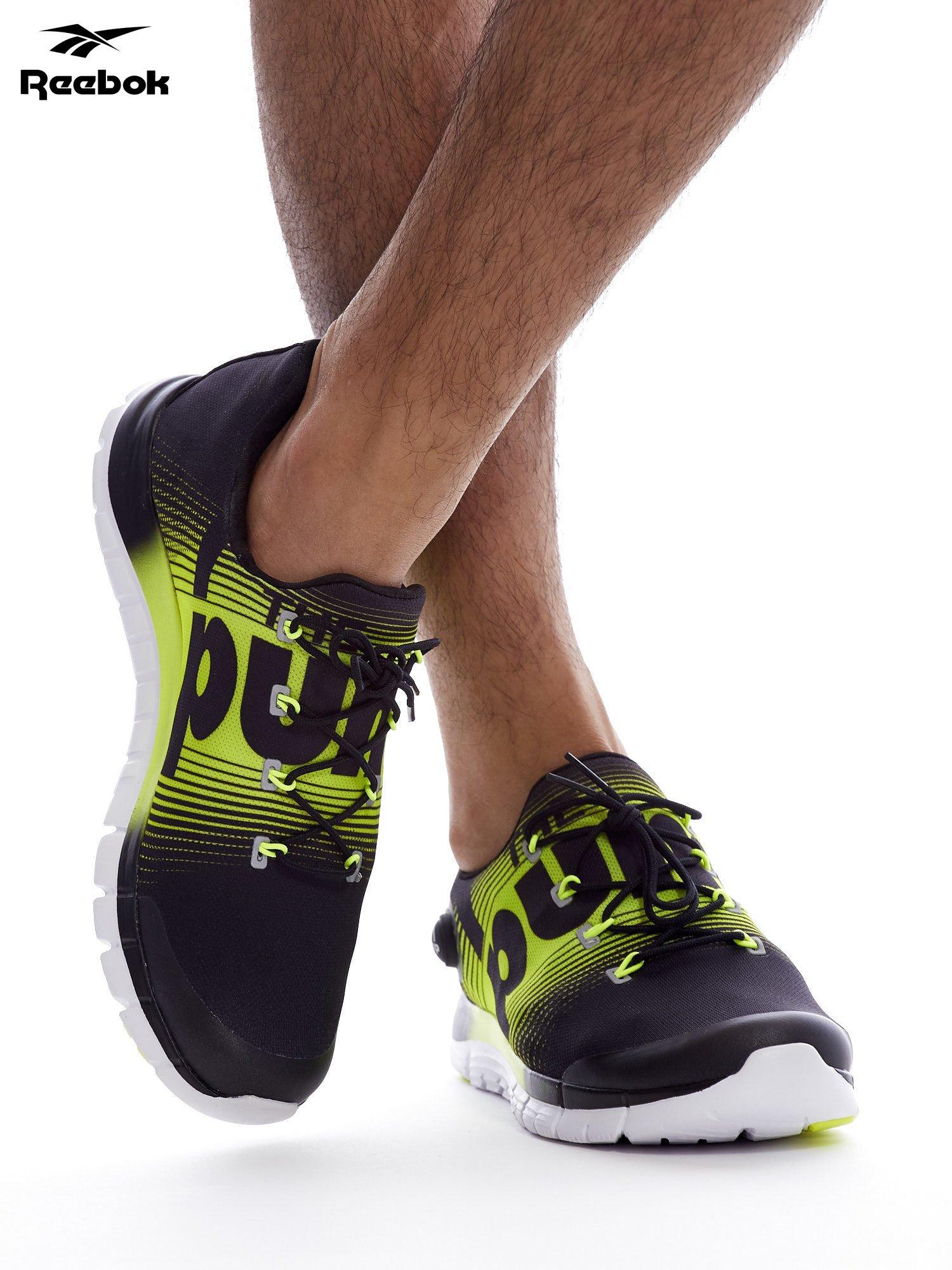 REEBOK ZPUMP FUSION Czarno żółte buty męskie sportowe z nadrukiem