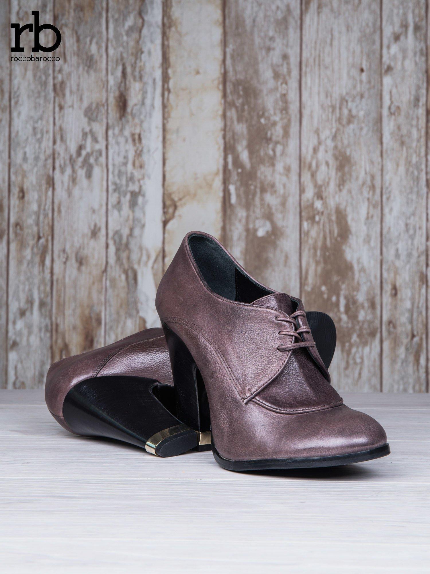 ROCCOBAROCCO Brązowe wiązane botki genuine leather skórzane oxfordki                                  zdj.                                  4