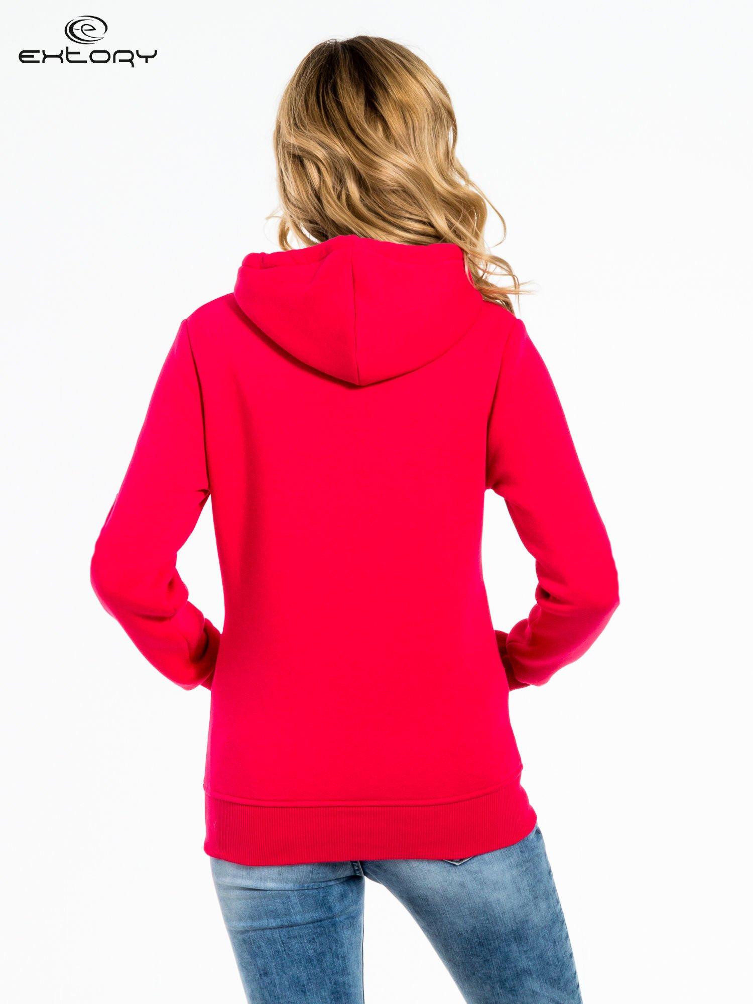 Różowa bluza sportowa z kapturem i dżetami                                  zdj.                                  4