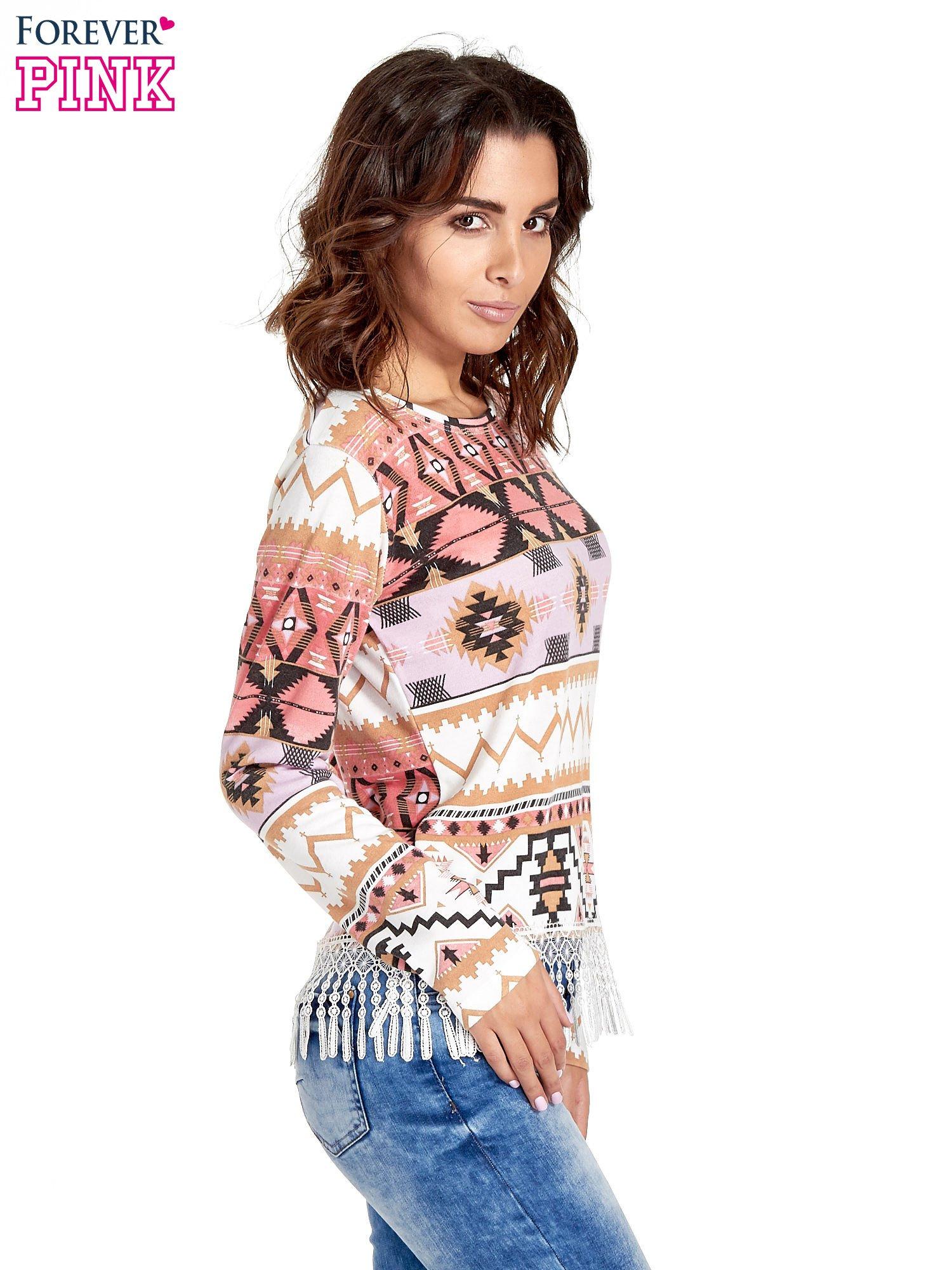 Różowa bluza w azteckie wzory z koronką z frędzlami                                  zdj.                                  3