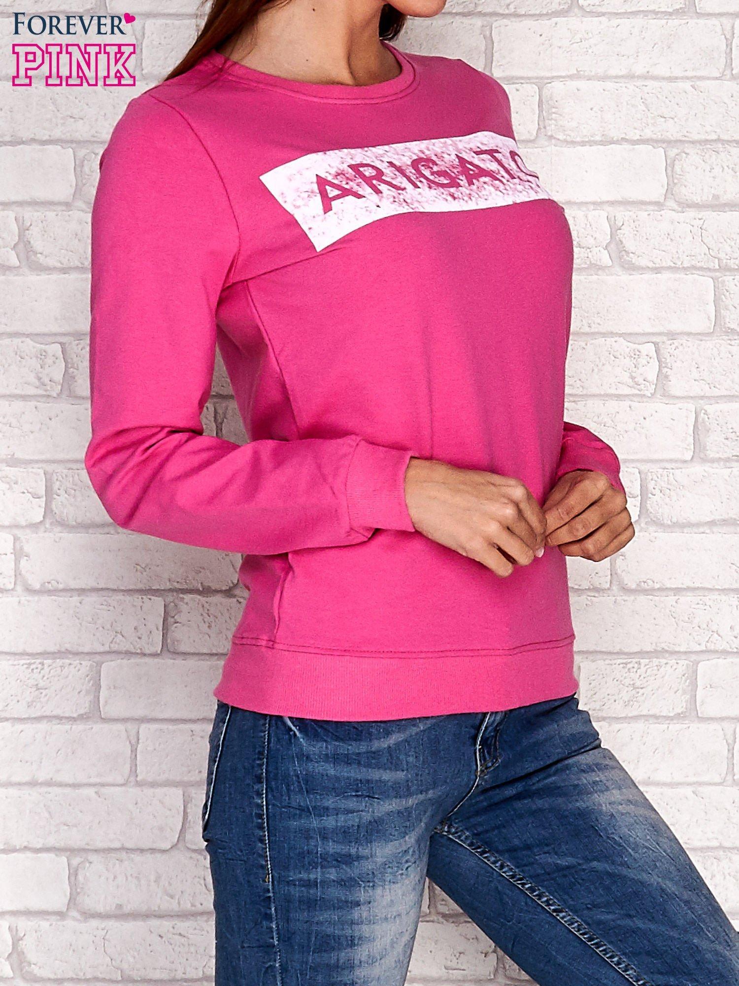 Różowa bluza z napisem ARIGATO                                  zdj.                                  3