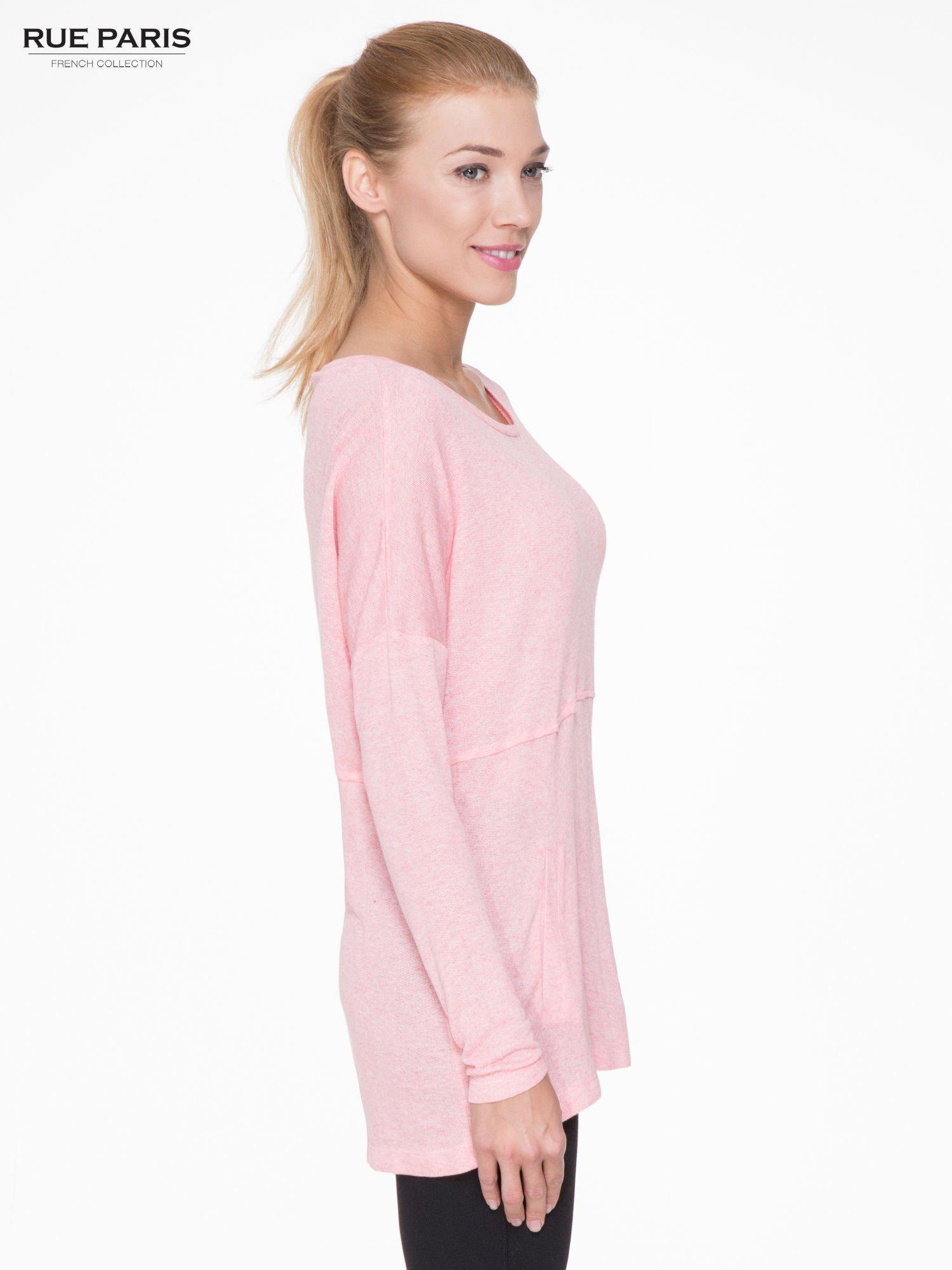Różowa dresowa bluza oversize z kieszeniami                                  zdj.                                  3