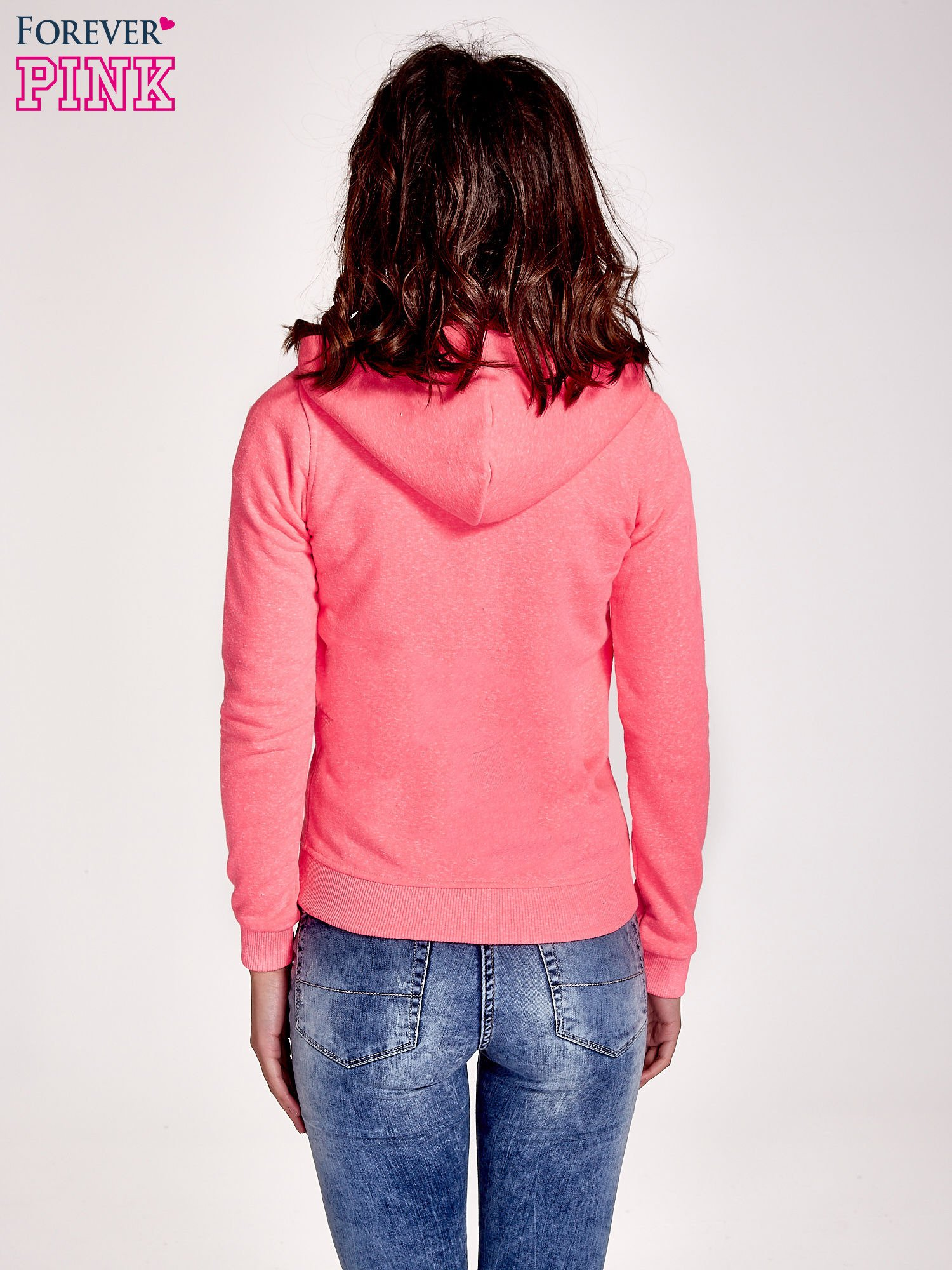 Różowa gładka bluza z kapturem                                  zdj.                                  4