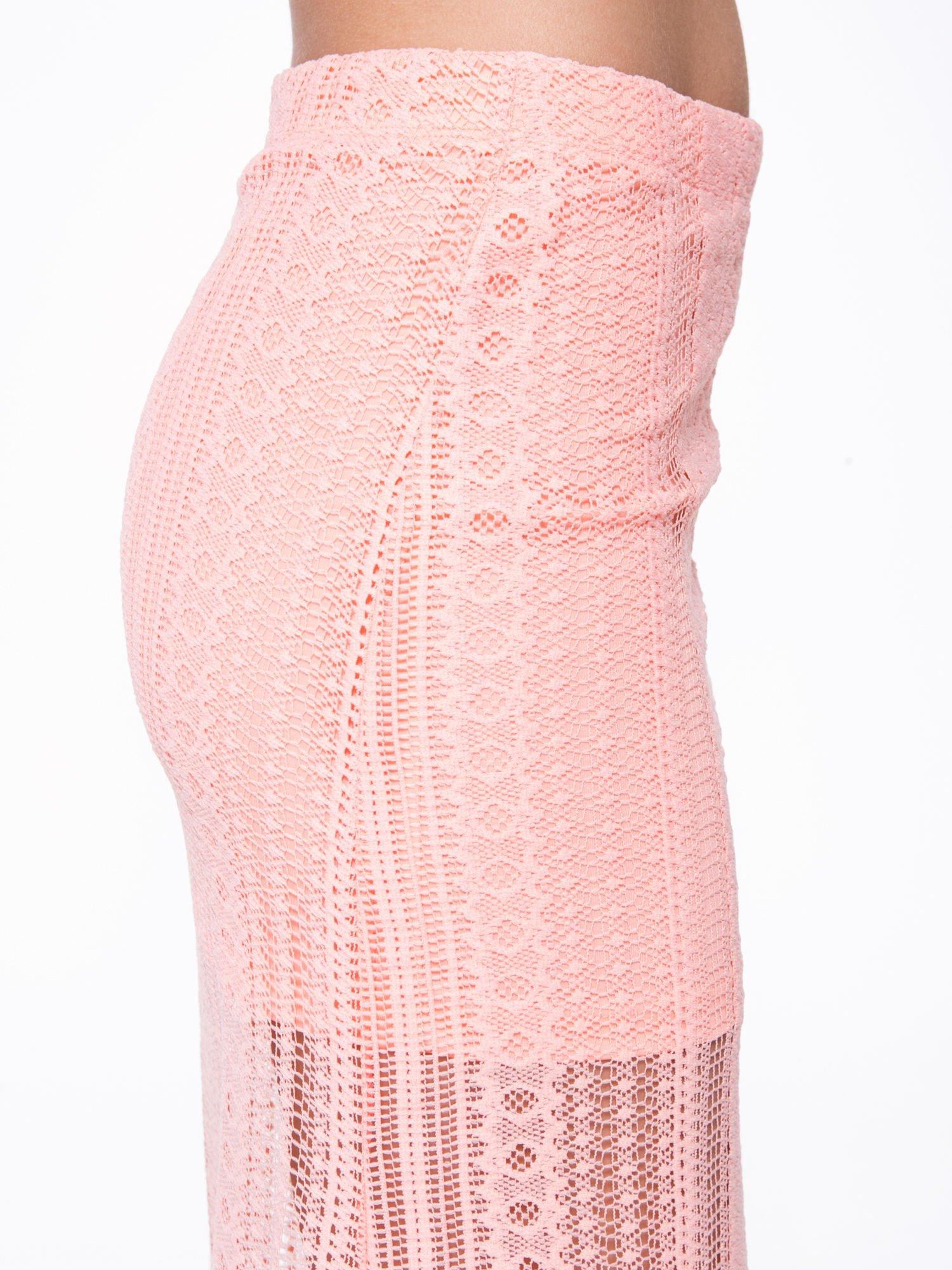 Różowa koronkowa spódnica maxi z rozporkiem                                  zdj.                                  8