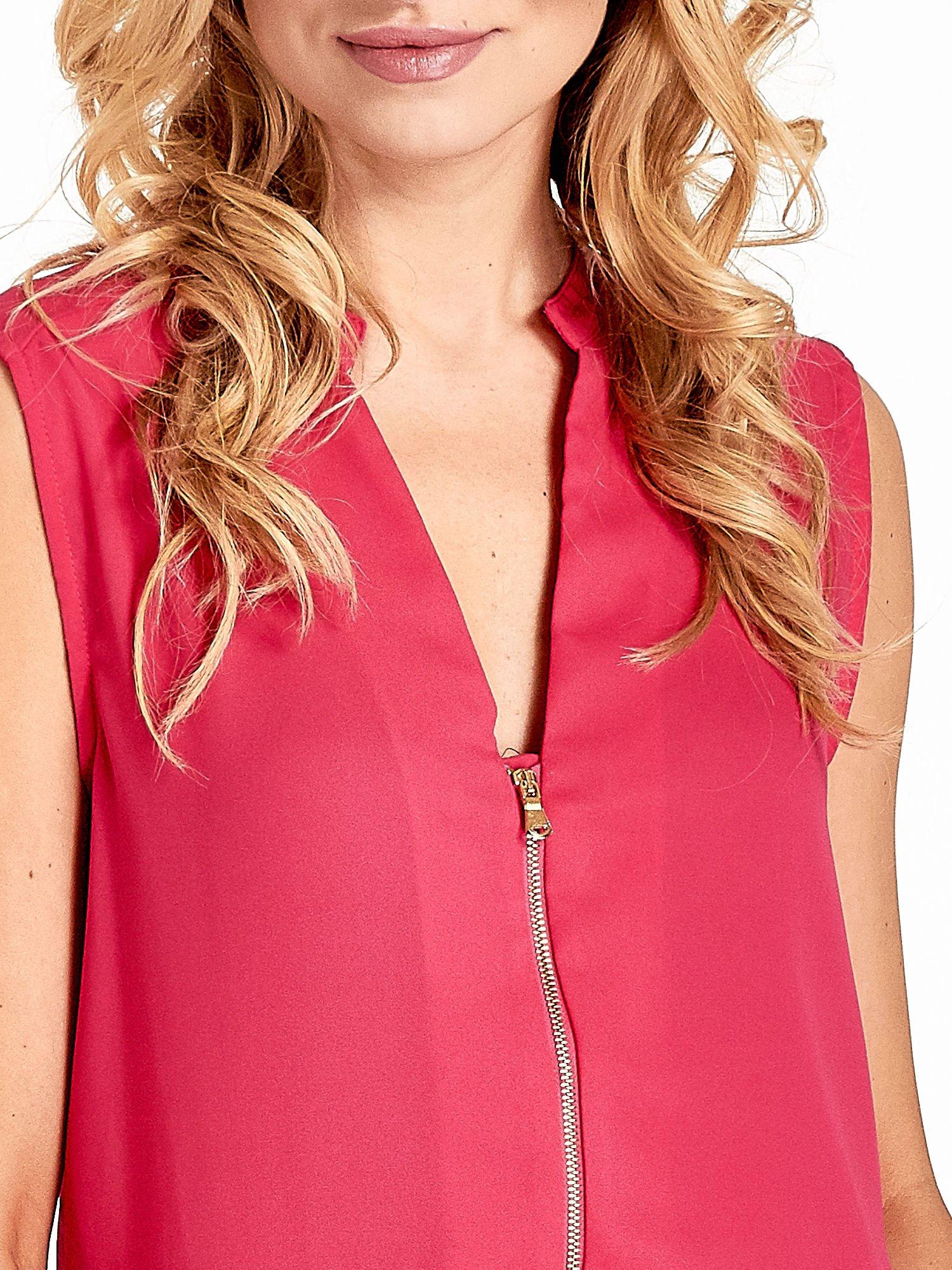 Różowa koszula V-neck z suwakiem                                  zdj.                                  5