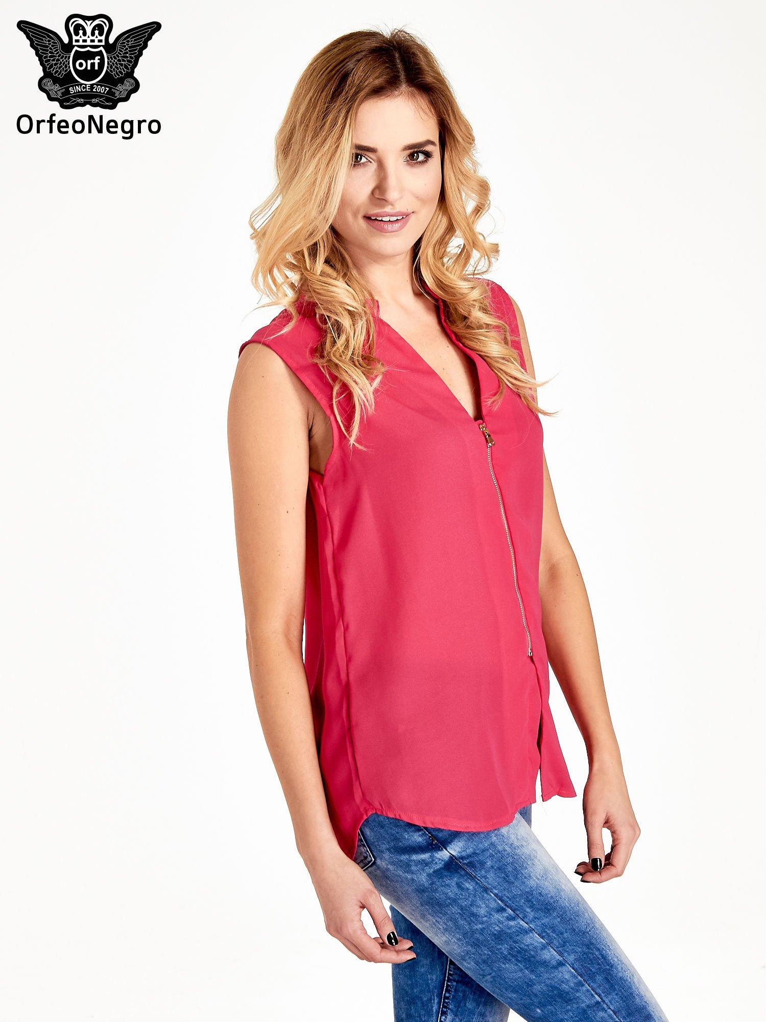 Różowa koszula V-neck z suwakiem                                  zdj.                                  3