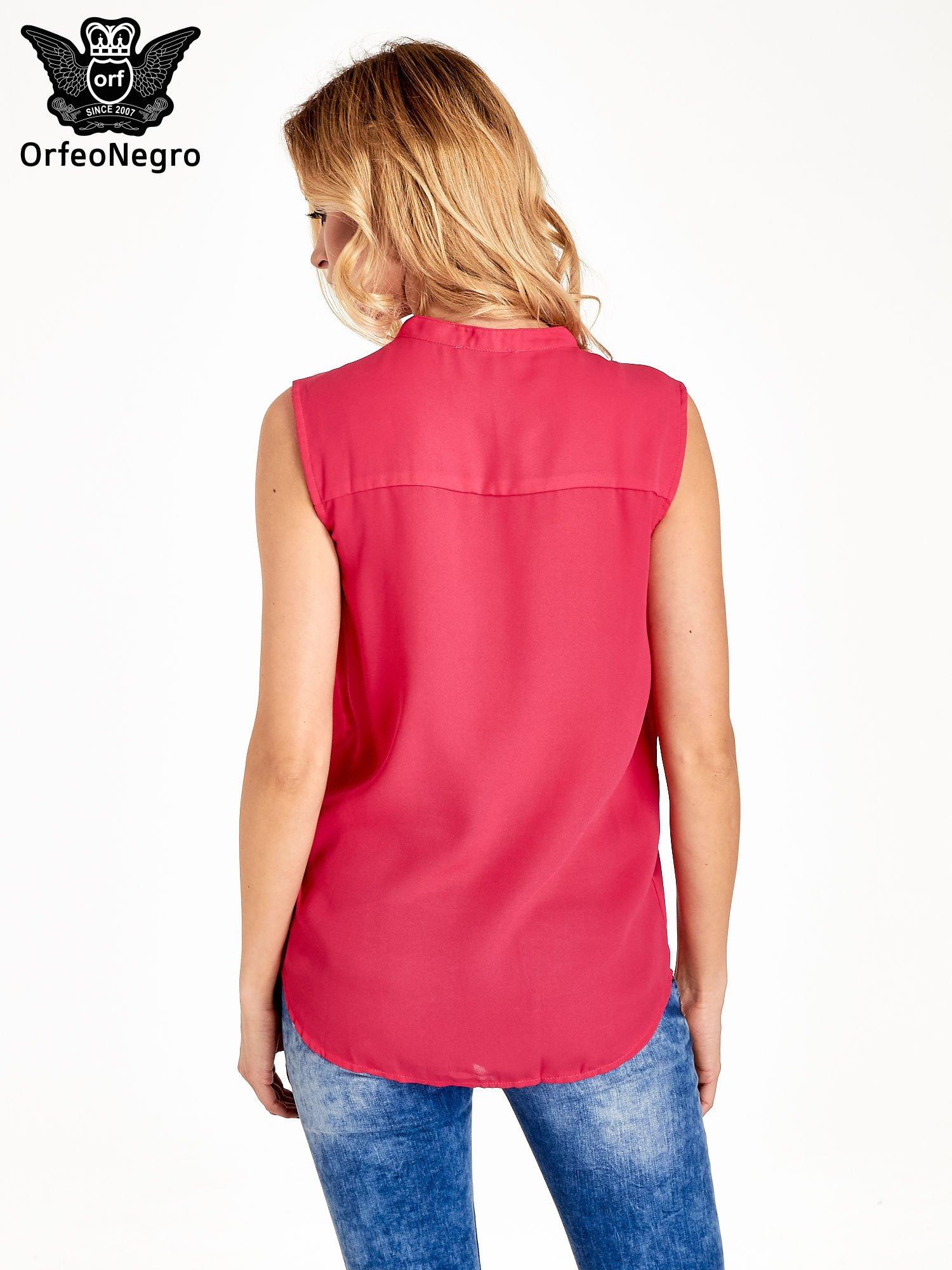 Różowa koszula V-neck z suwakiem                                  zdj.                                  4