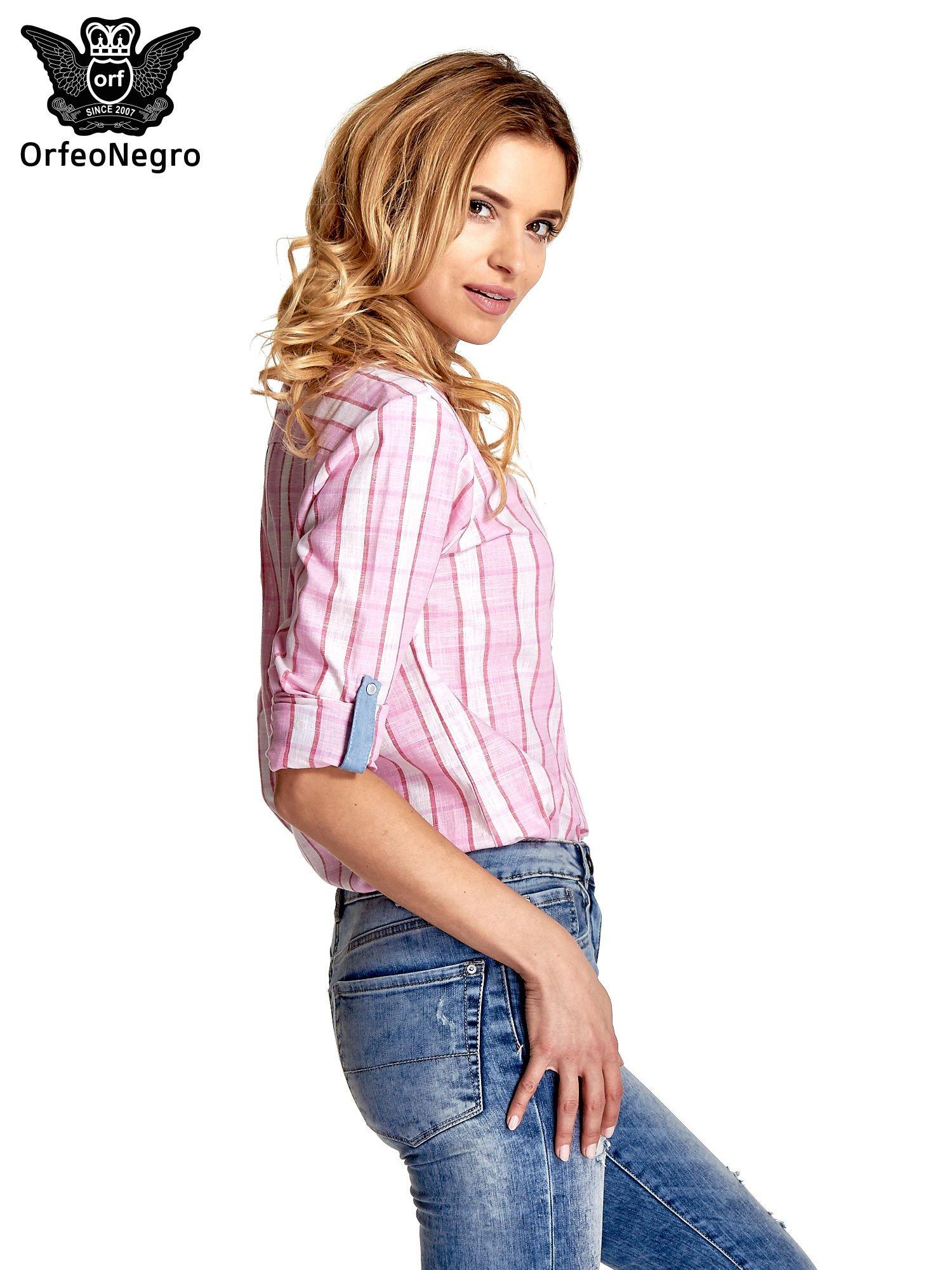 Różowa koszula w pasy z kołnierzykiem, mankietami i kieszonką z jasnego denimu                                  zdj.                                  5