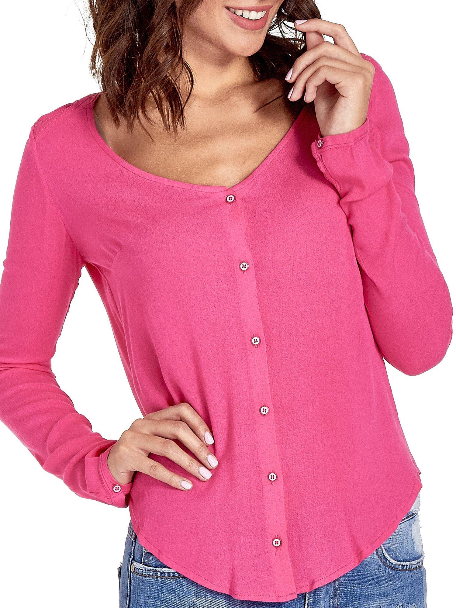 Różowa koszula z kontrafałdą z tyłu                                  zdj.                                  5