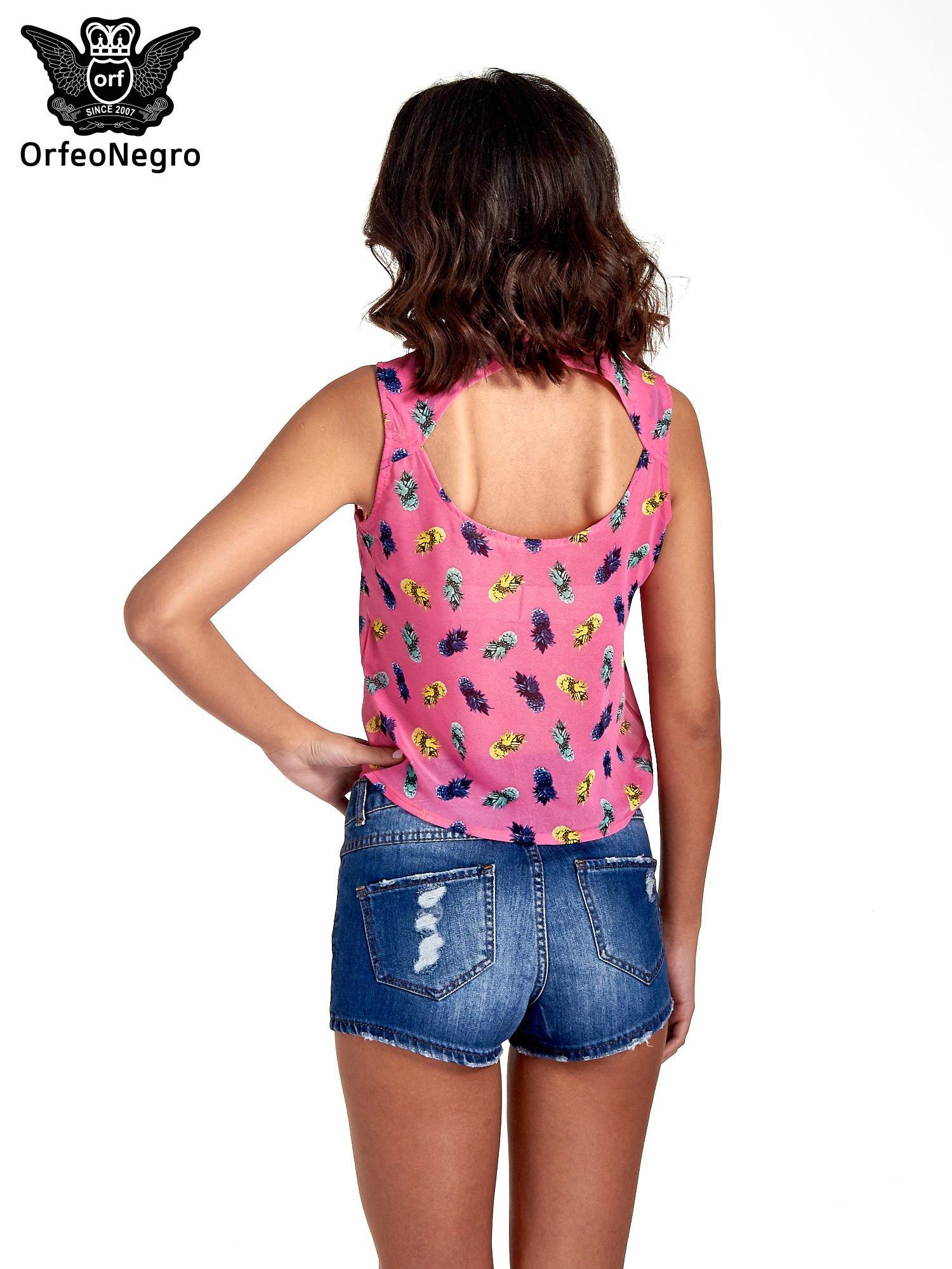 Różowa koszula z wiązaniem w ananasy                                  zdj.                                  2