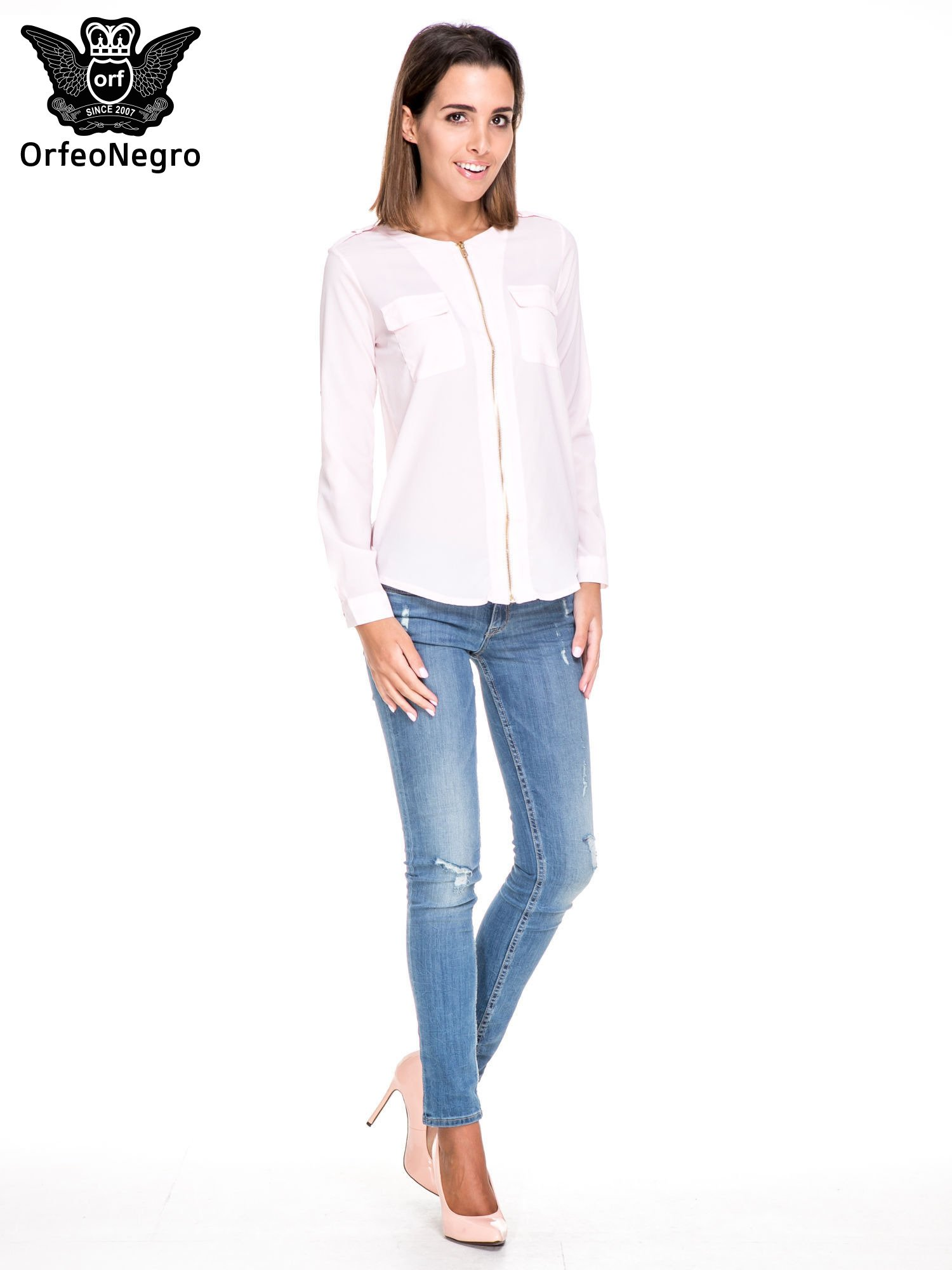Różowa koszula ze złotym suwakiem i kieszonkami                                  zdj.                                  2