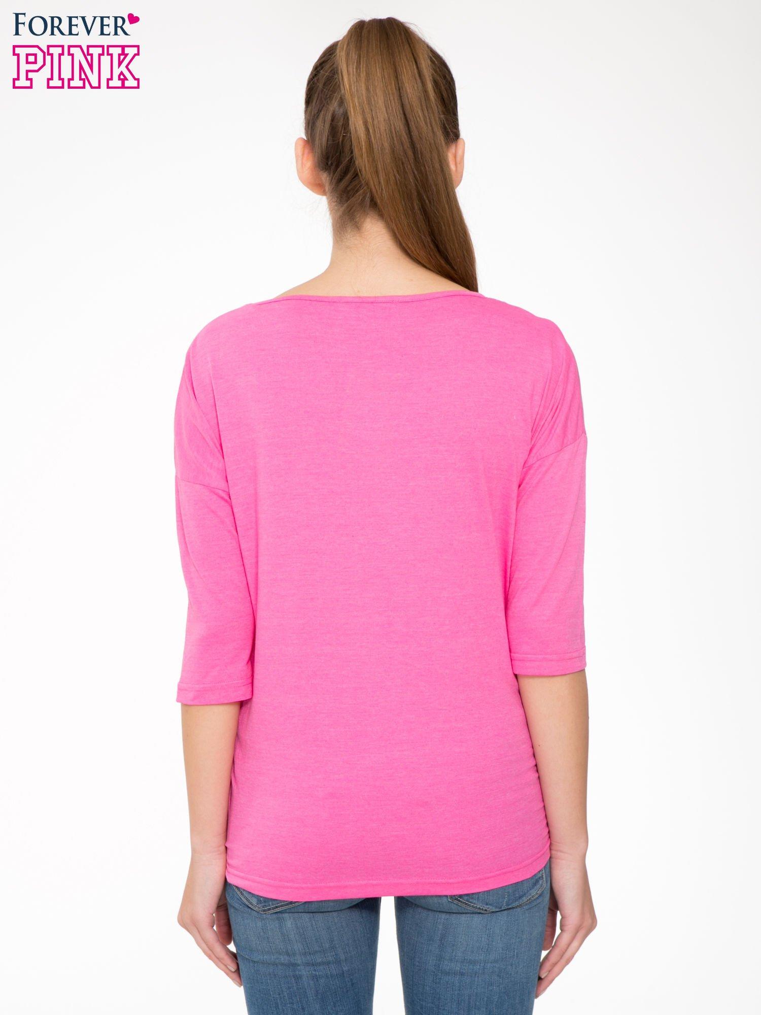 Różowa luźna bluzka z rękawem 3/4                                  zdj.                                  4