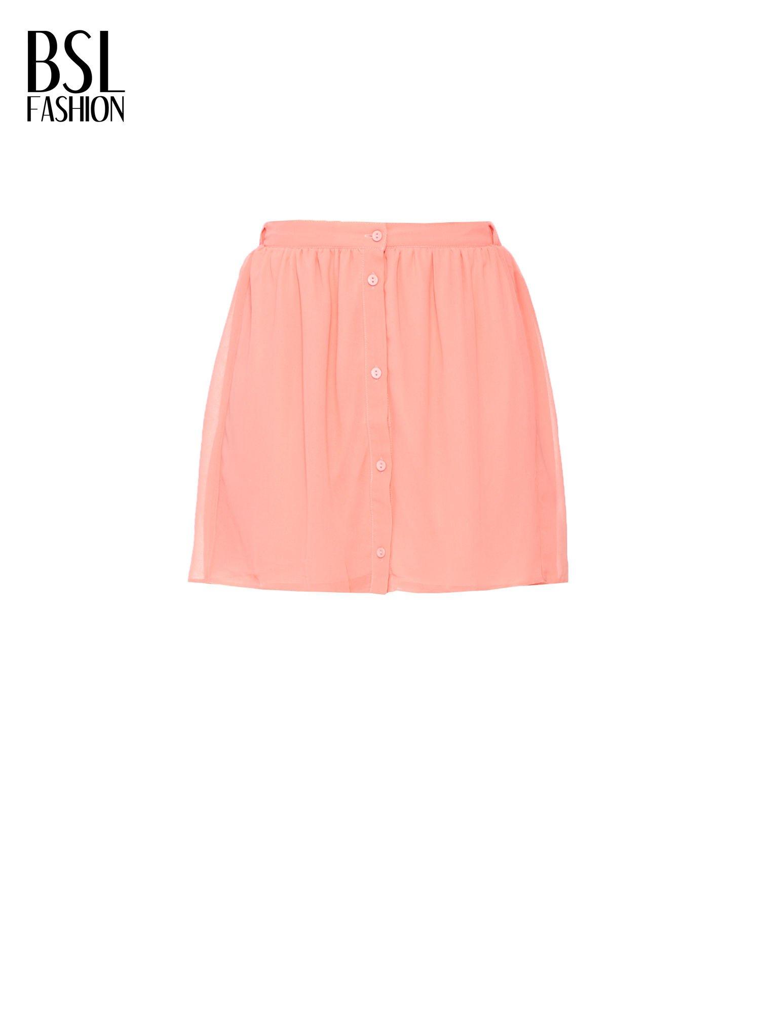 Różowa mini spódnica zapinana z przodu  na rząd guzików                                  zdj.                                  5