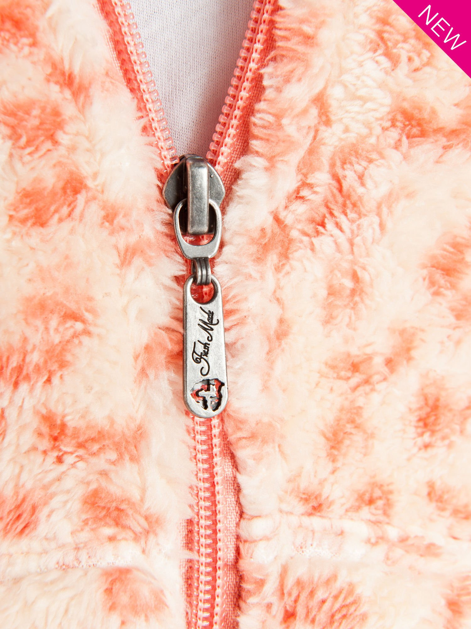 Różowa panterkowa kamizelka z kapturem z uszkami                                  zdj.                                  3
