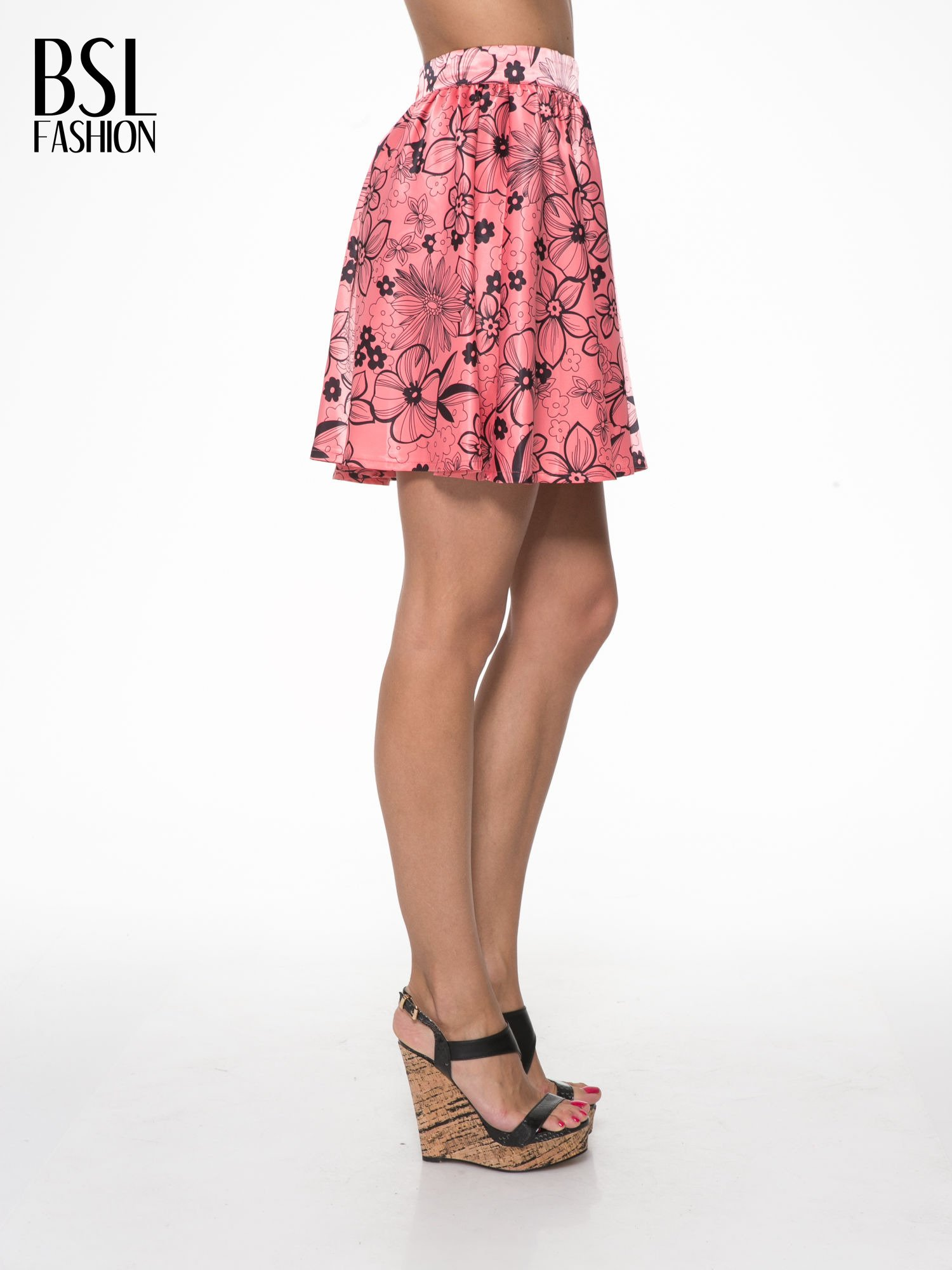 Różowa rozkloszowana spódnica skater w kwiaty                                  zdj.                                  3