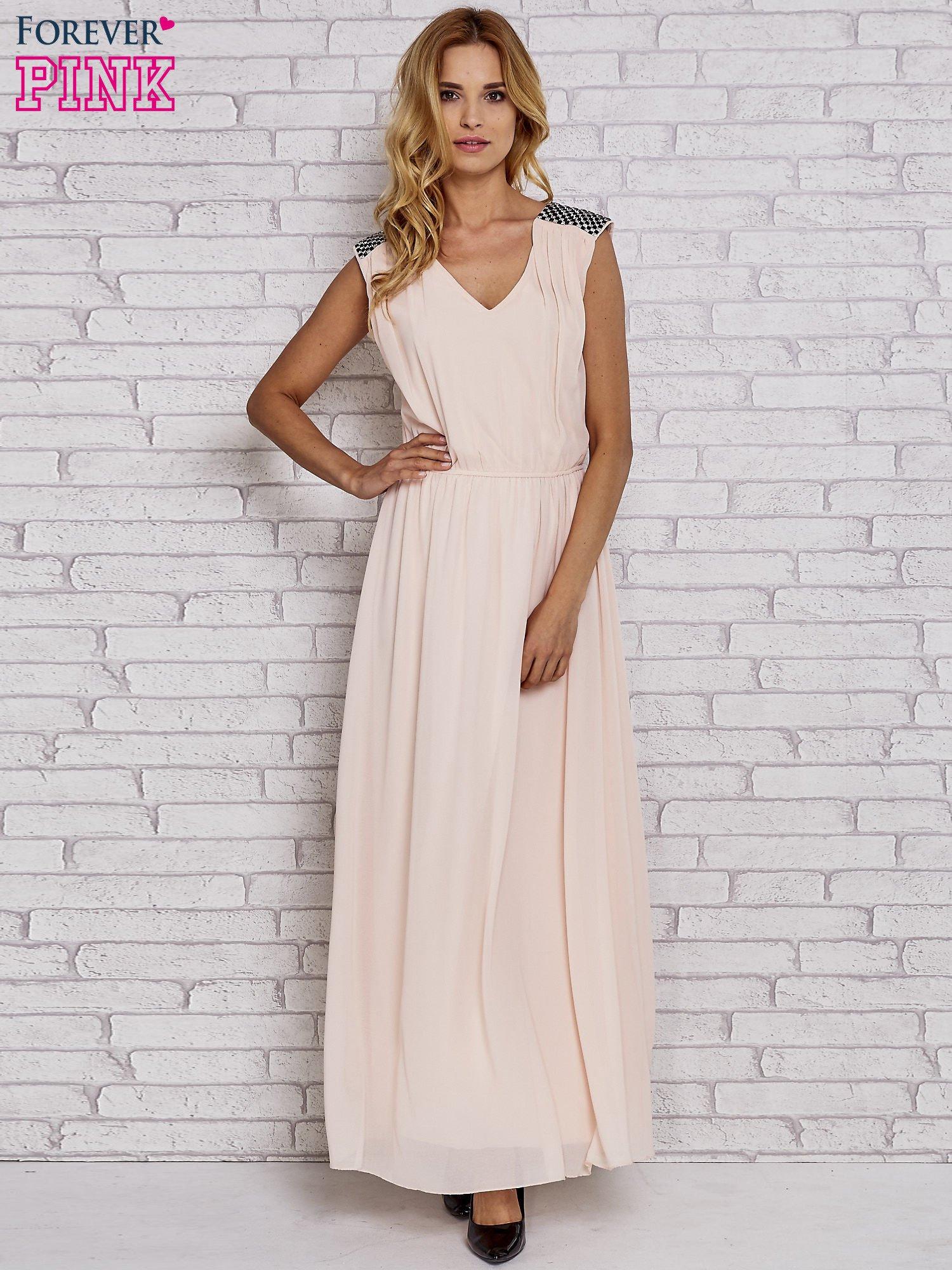 Różowa sukienka maxi z pagonami z dżetów                                  zdj.                                  2